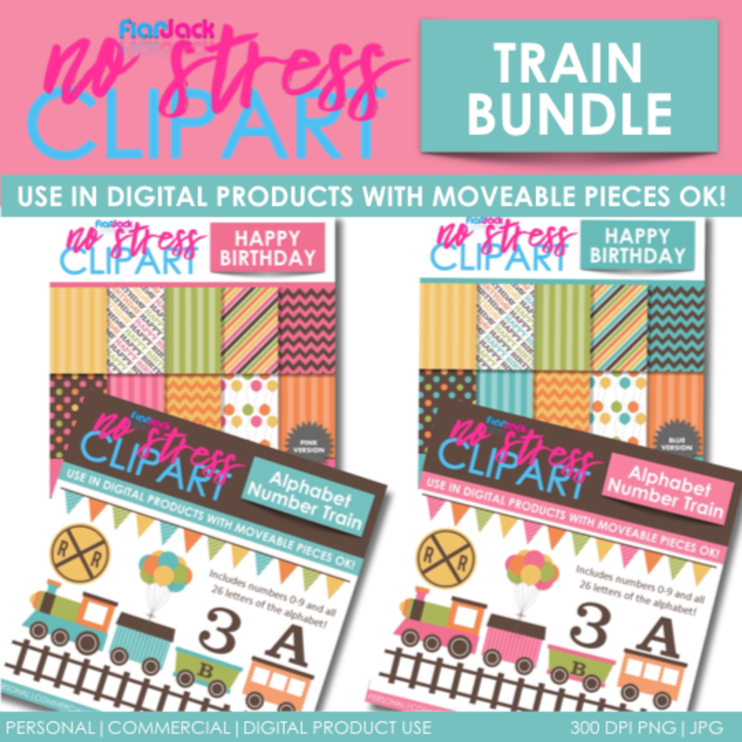 TRAIN Clipart Plus Digital Papers BUNDLE