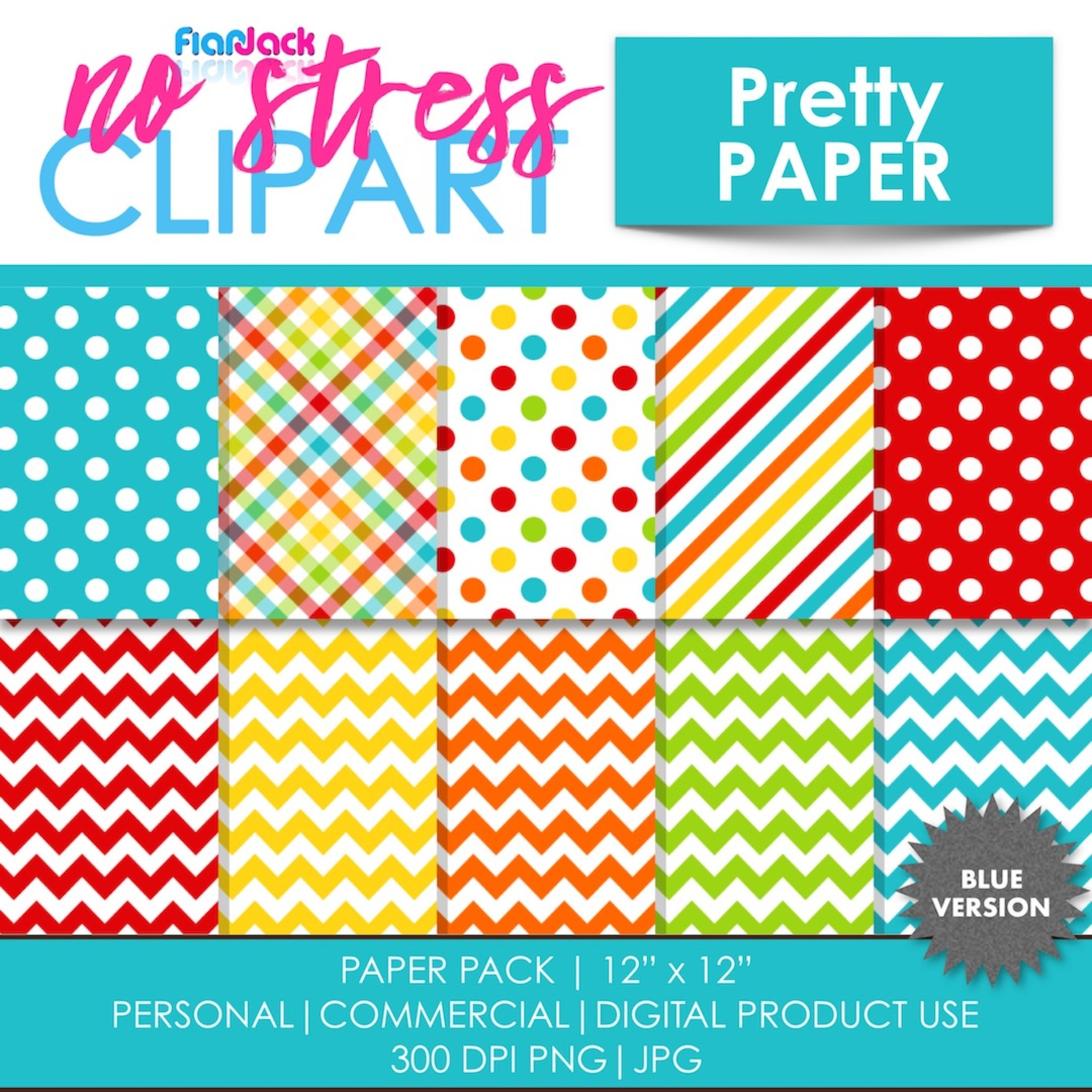 Pretty Paper (Blue) Digital Papers