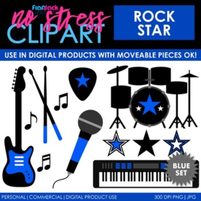ROCK STAR Clipart Plus Digital Papers BUNDLE