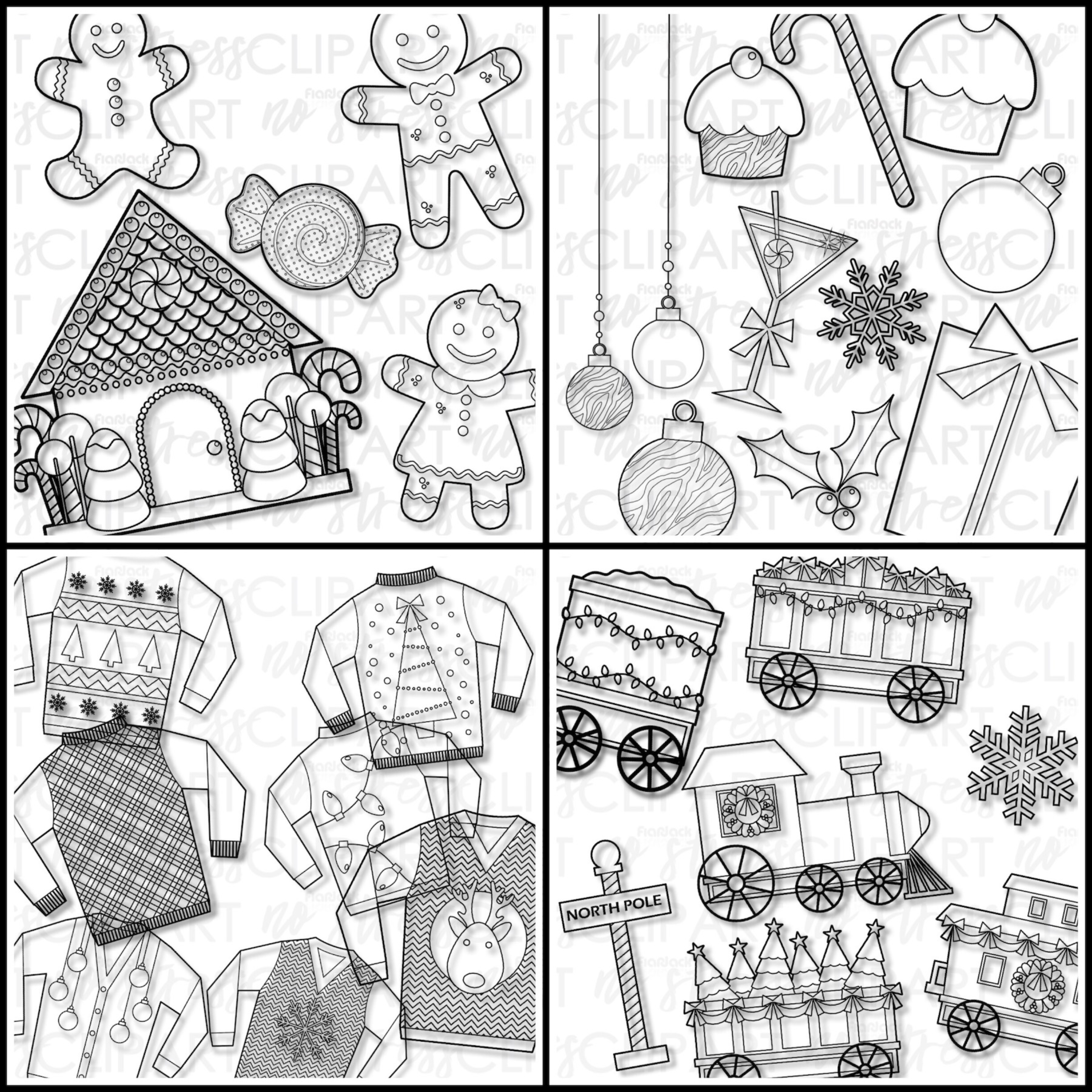 Christmas Clipart And Digital Papers BUNDLE