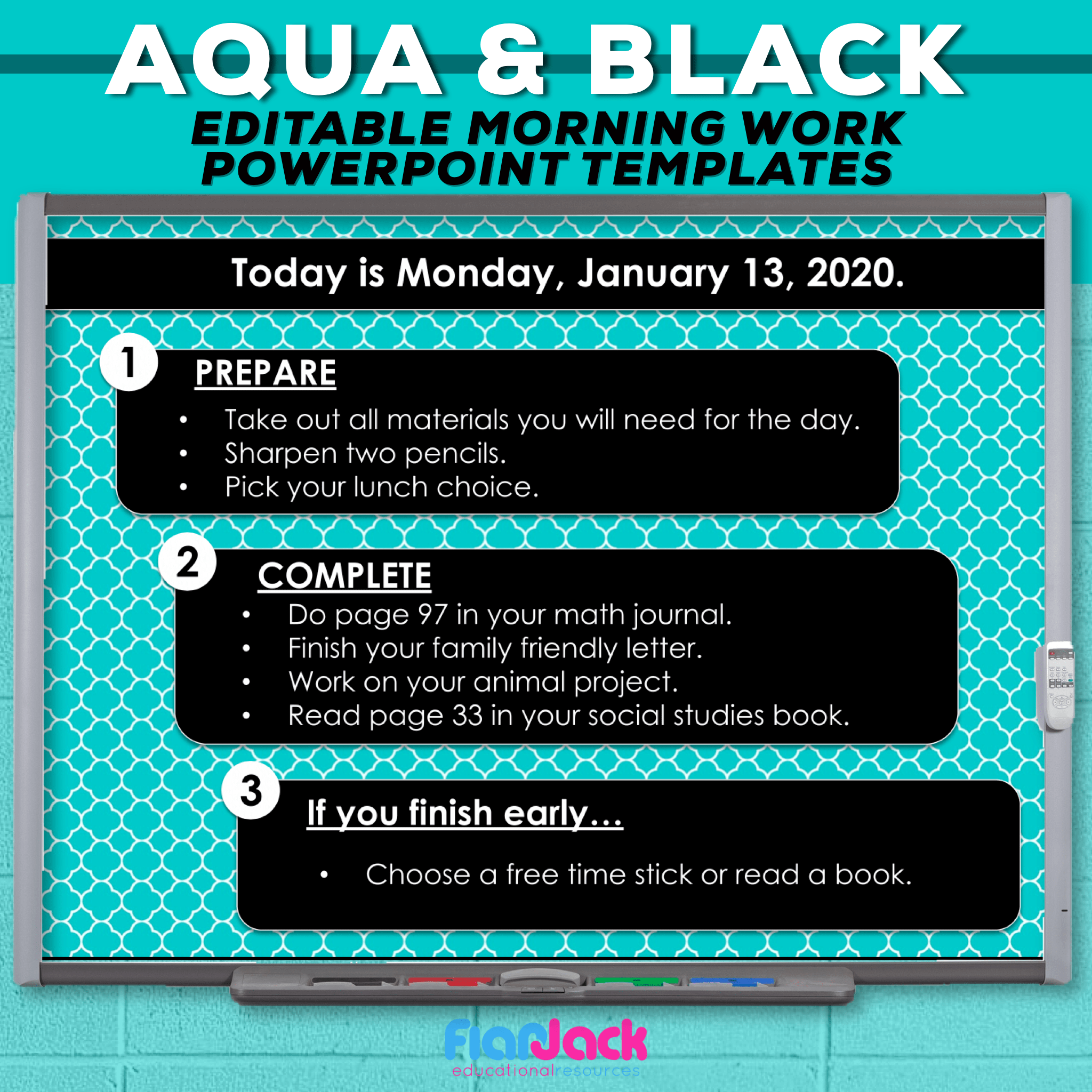 Editable PowerPoint Templates | Aqua and Black