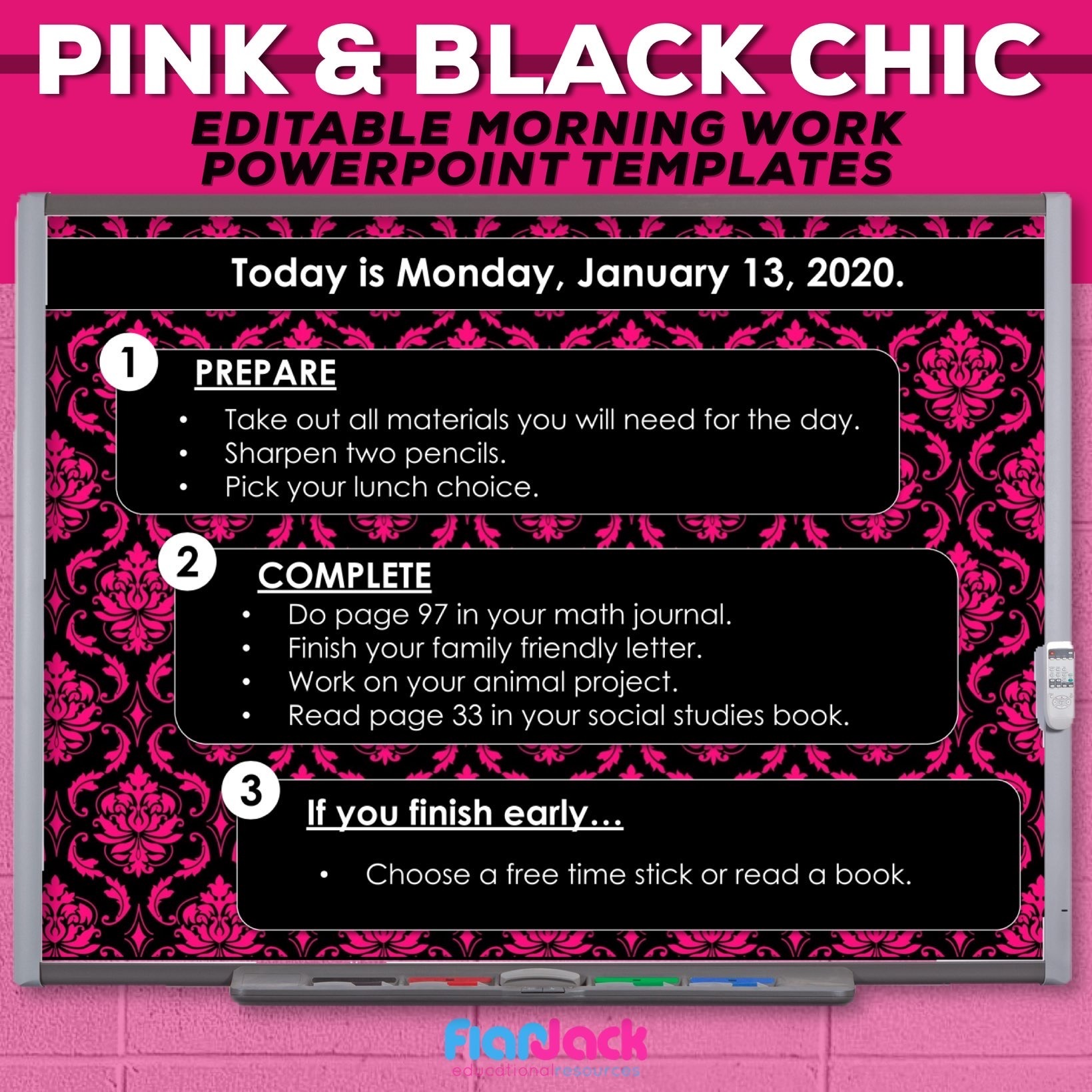 Editable PowerPoint Templates | Pink and Black