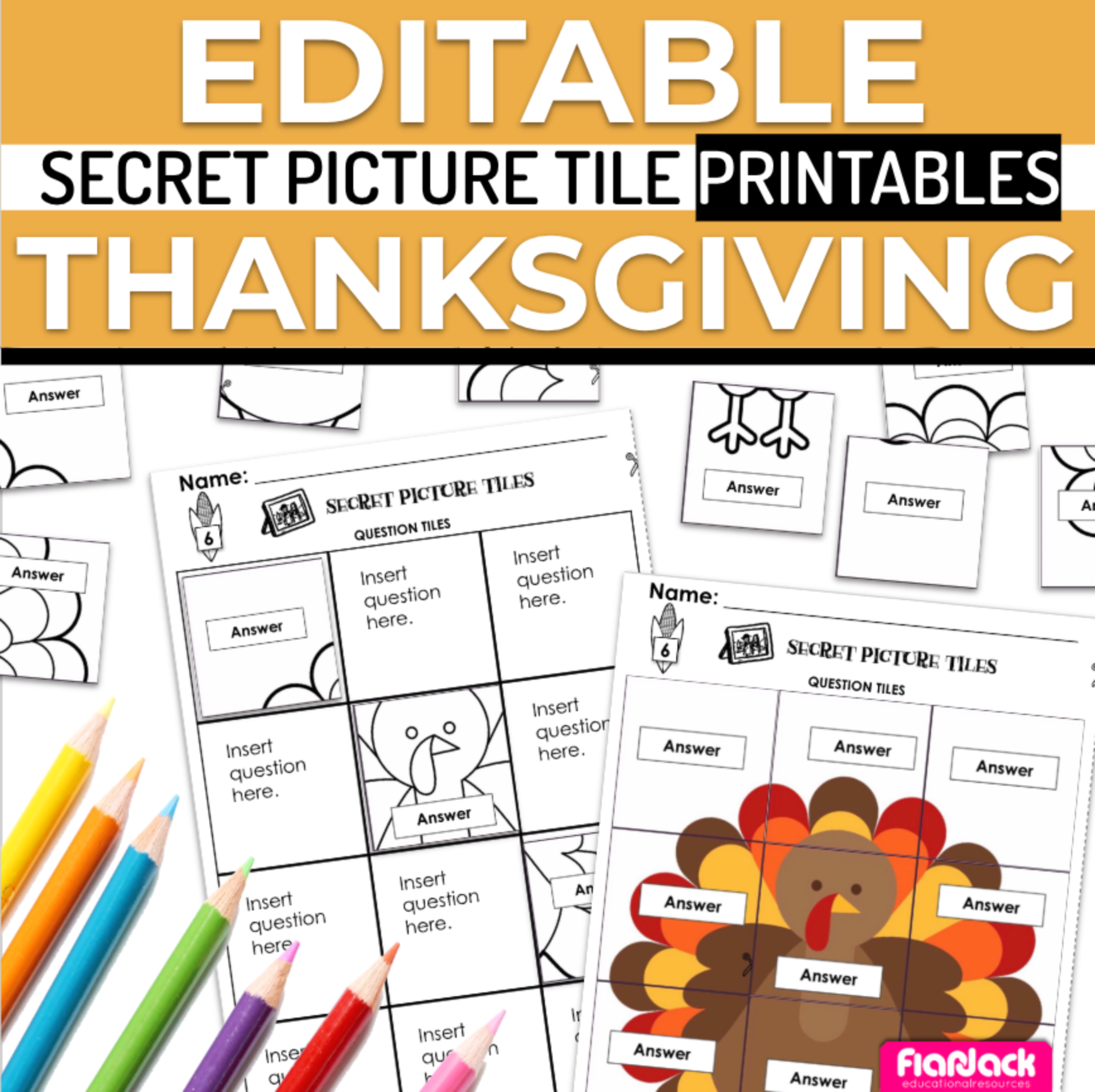 Thanksgiving EDITABLE Secret Picture Tile Printables