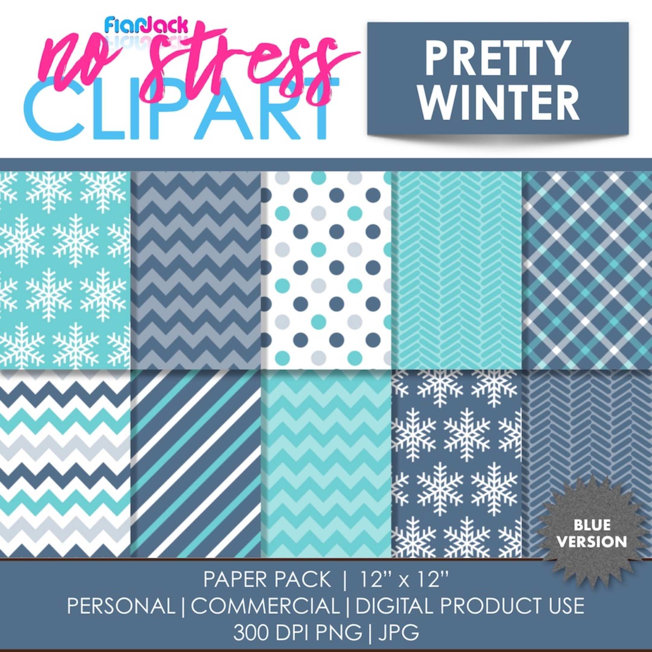Pretty Winter (Blue) Digital Papers