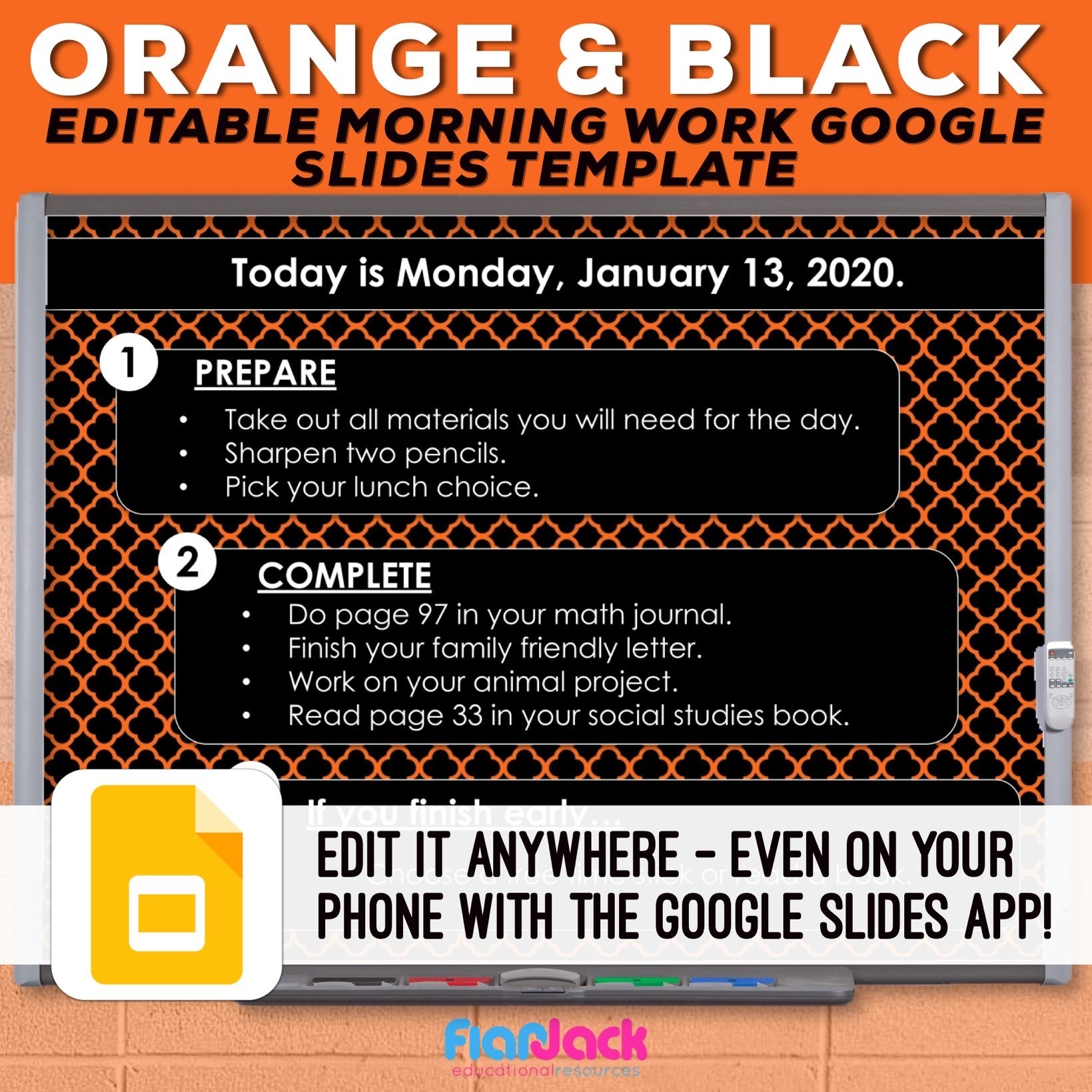 Editable Google Slide Templates | Orange And Black