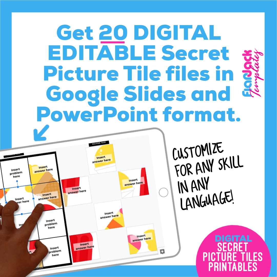 Digital Editable Google Slide Secret Picture Tiles | Ice Cream