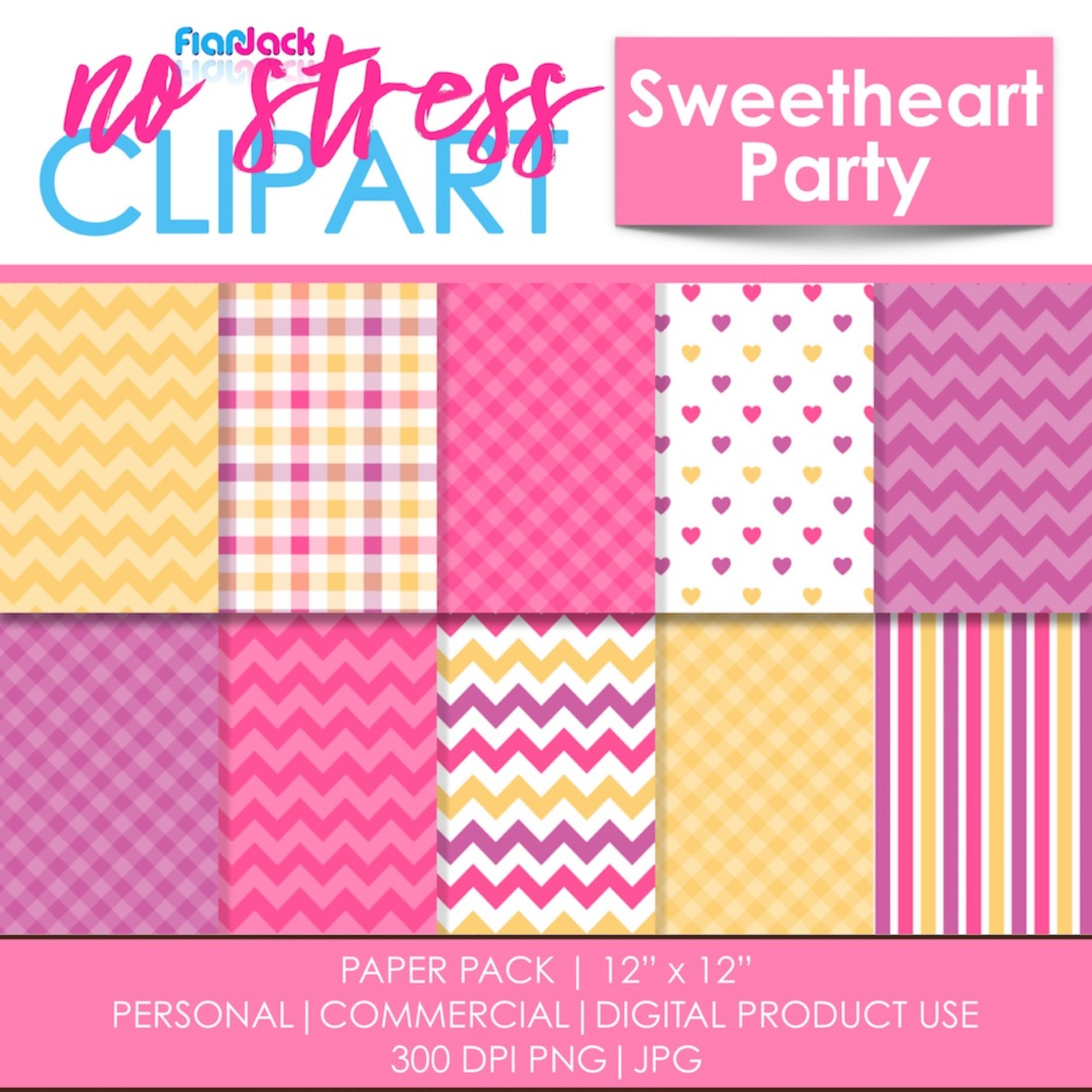 Sweetheart Party Digital Papers