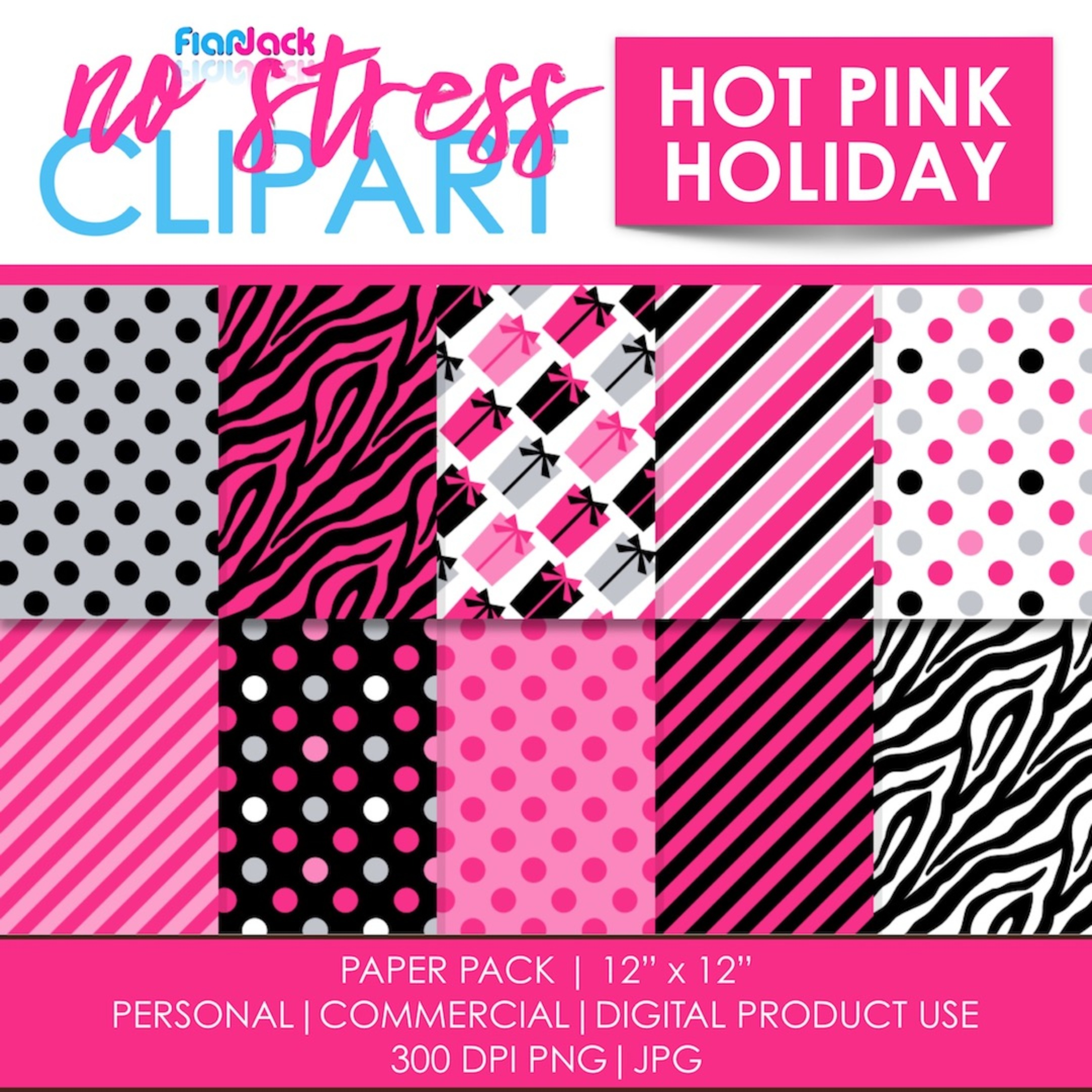 Hot Pink Holiday Digital Papers