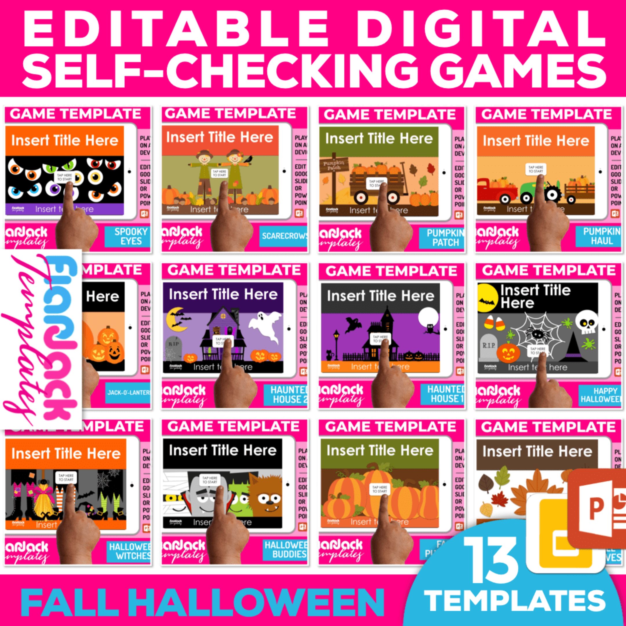 Editable Google Slides PowerPoint Game Templates FALL HALLOWEEN Bundle
