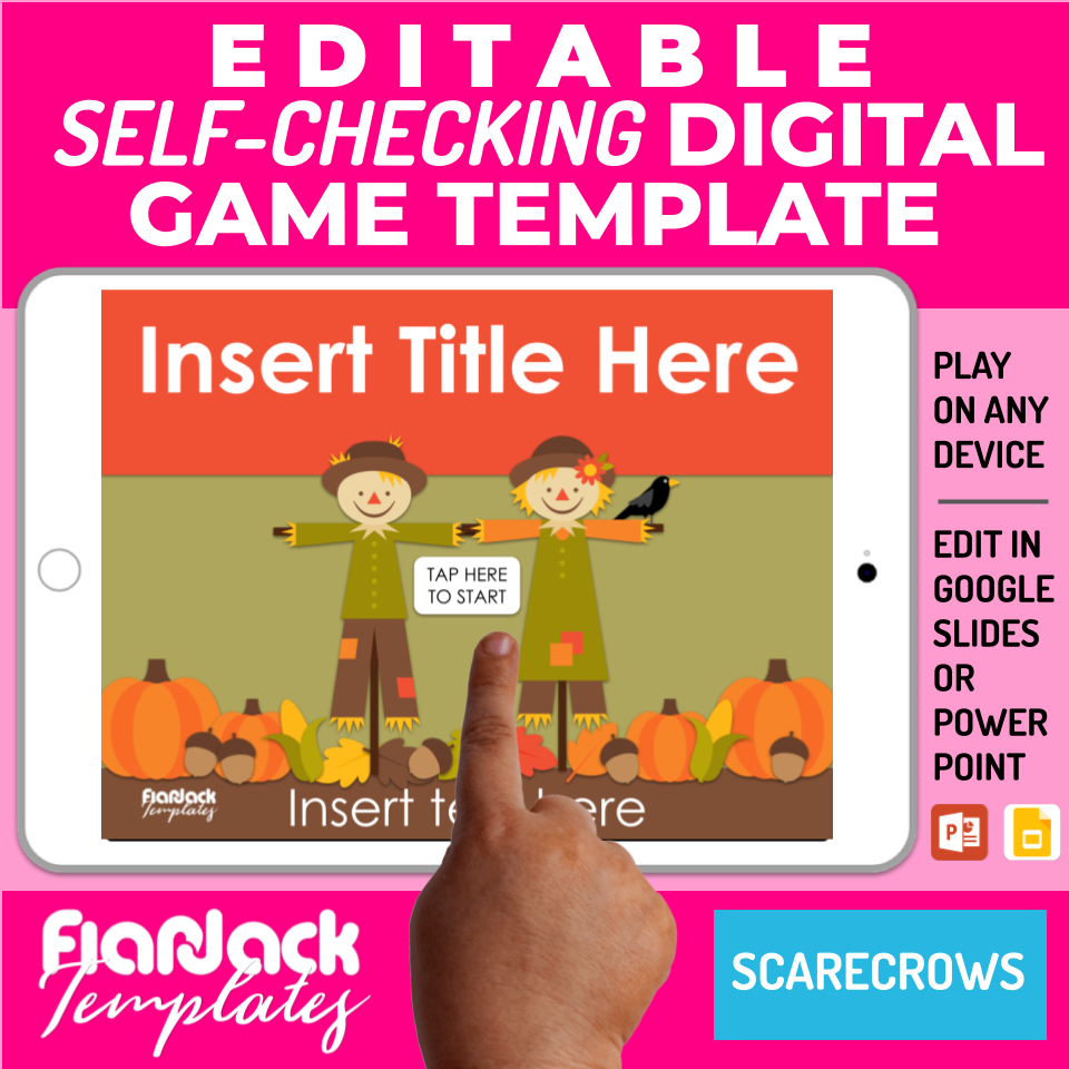 Digital Editable Self-Checking Google Slides Game Template | Scarecrow