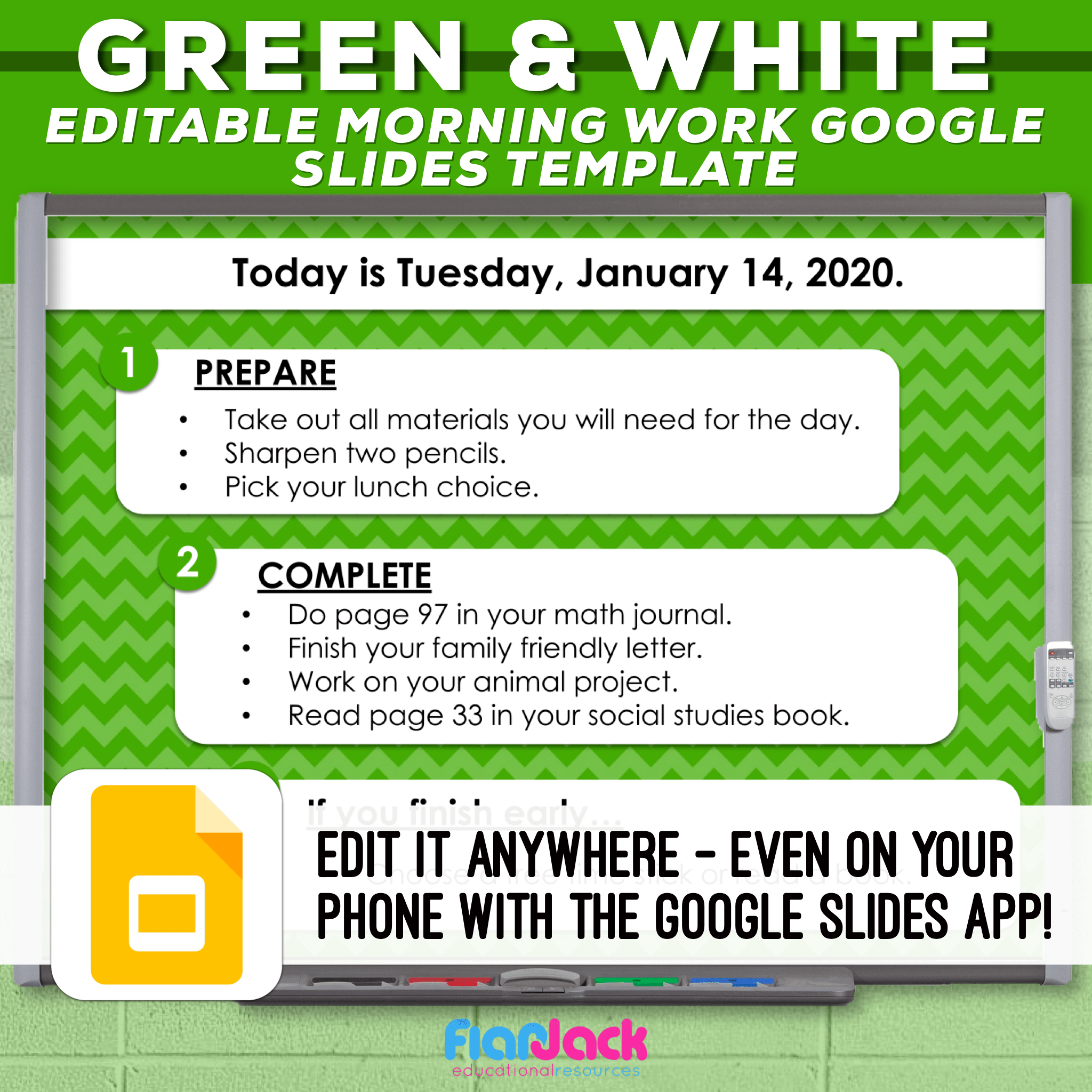 Editable Google Slide Templates | Green And White