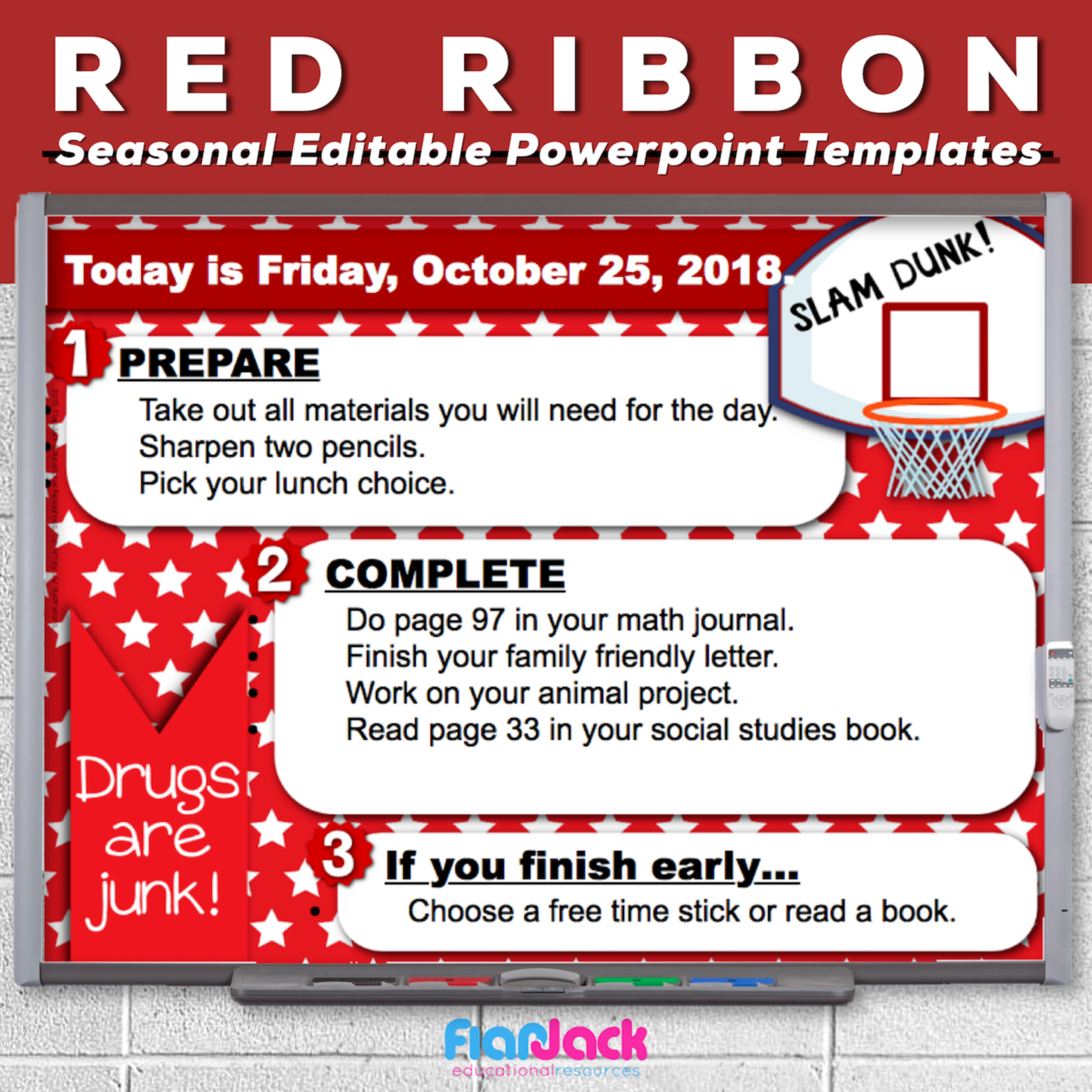 Red Ribbon Editable PowerPoint Templates