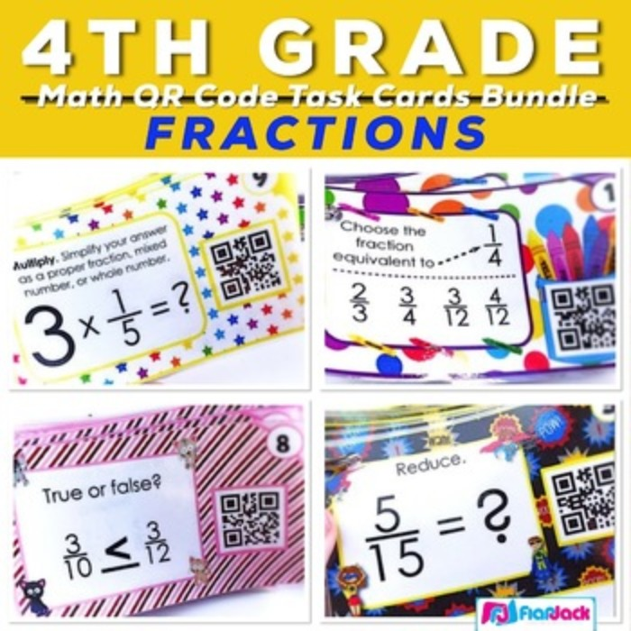 4th Grade Fractions QR Code Task Card Bundle