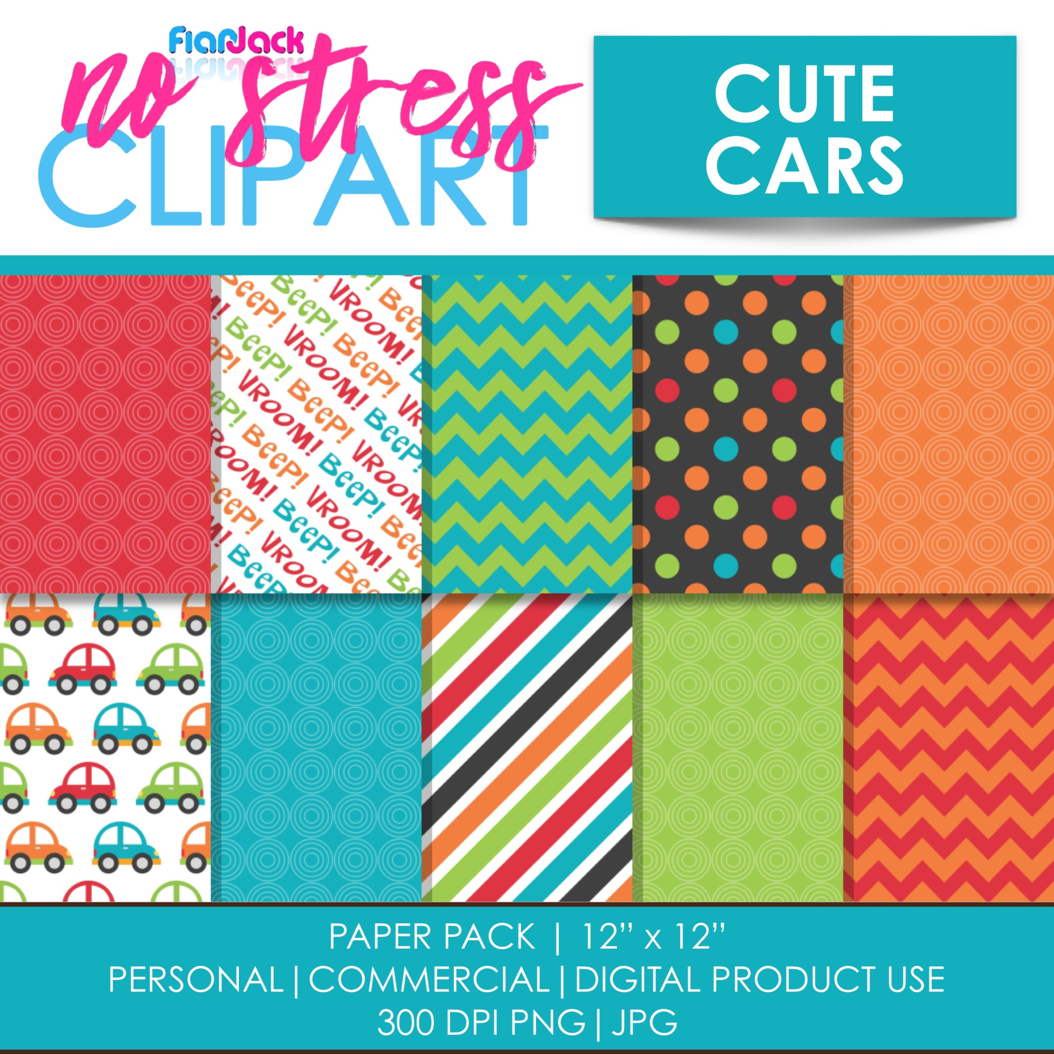 Cute Cars Digital Papers