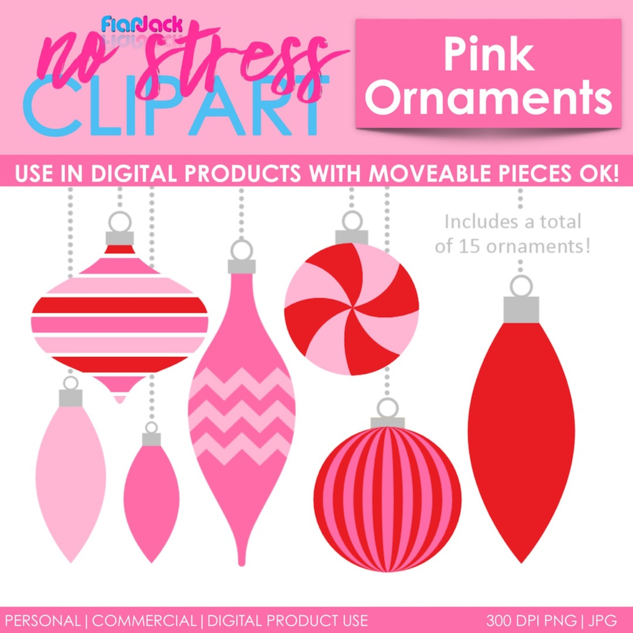 Pink Peppermint Ornaments (Christmas)