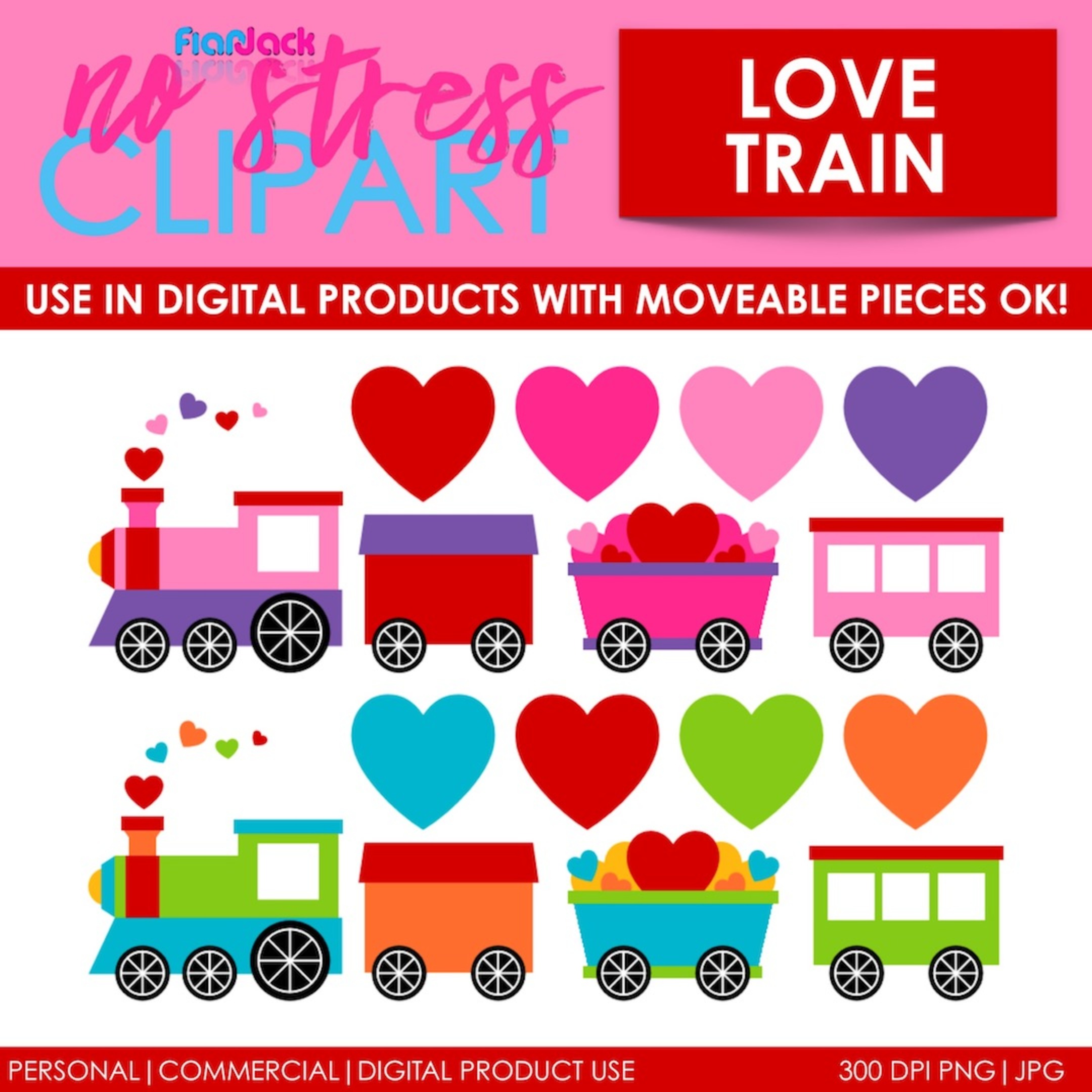 Valentine Love Trains Clip Art (Digital Use Ok!)
