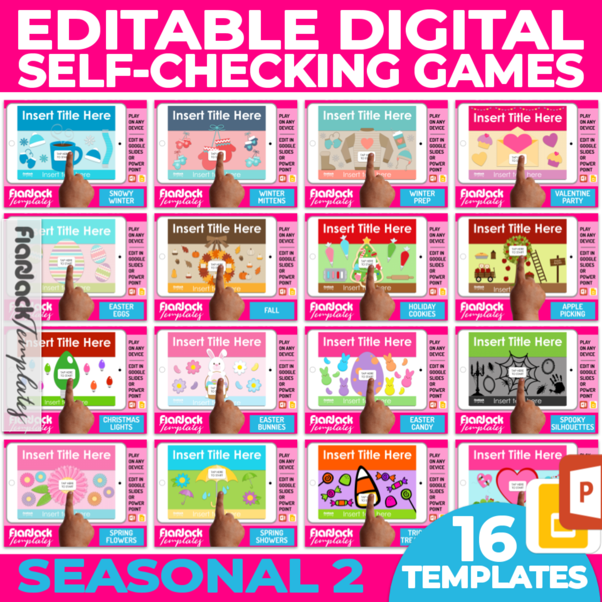 Editable Google Slides PowerPoint Game Templates SEASONAL Bundle 2