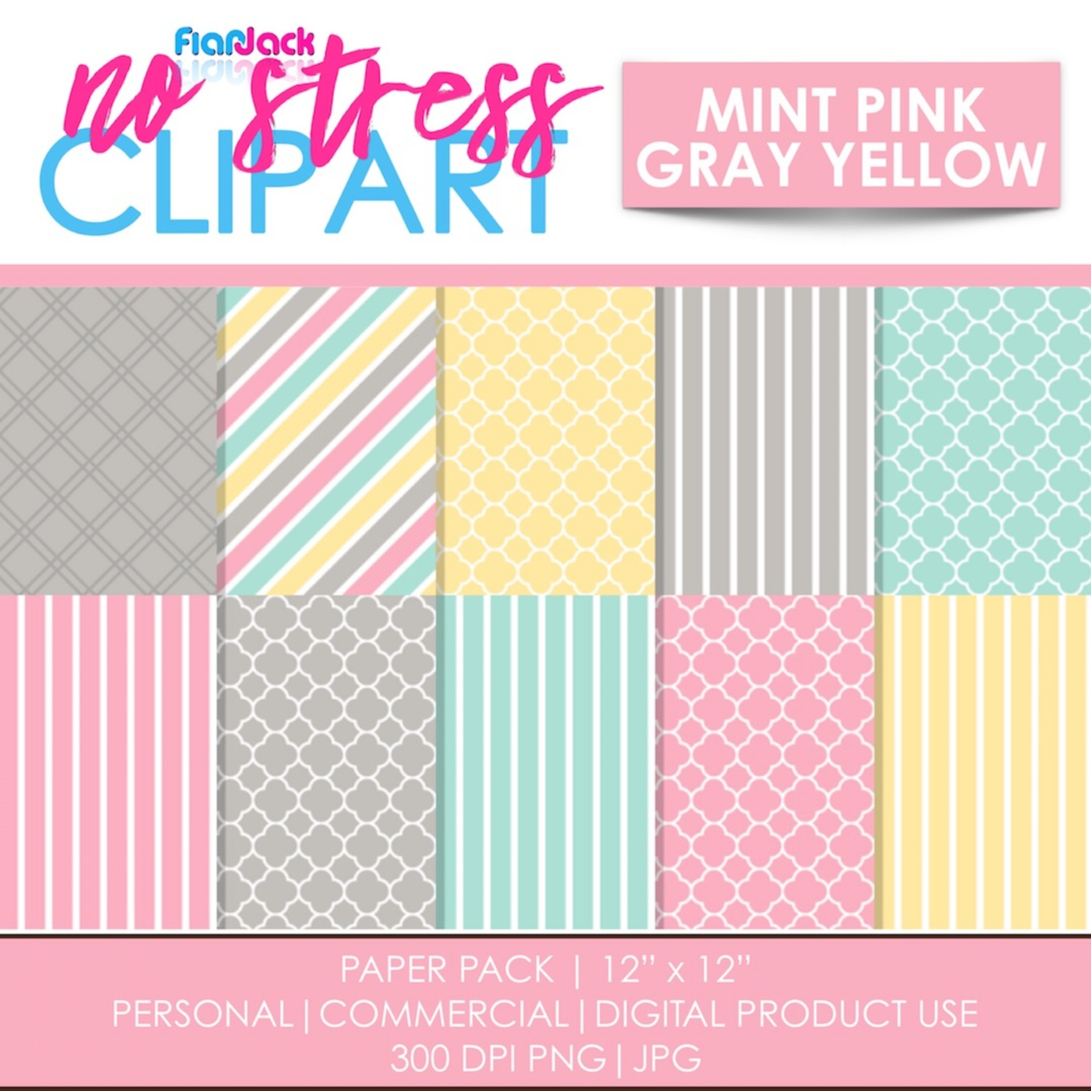 Mint Pink Gray Yellow Digital Papers