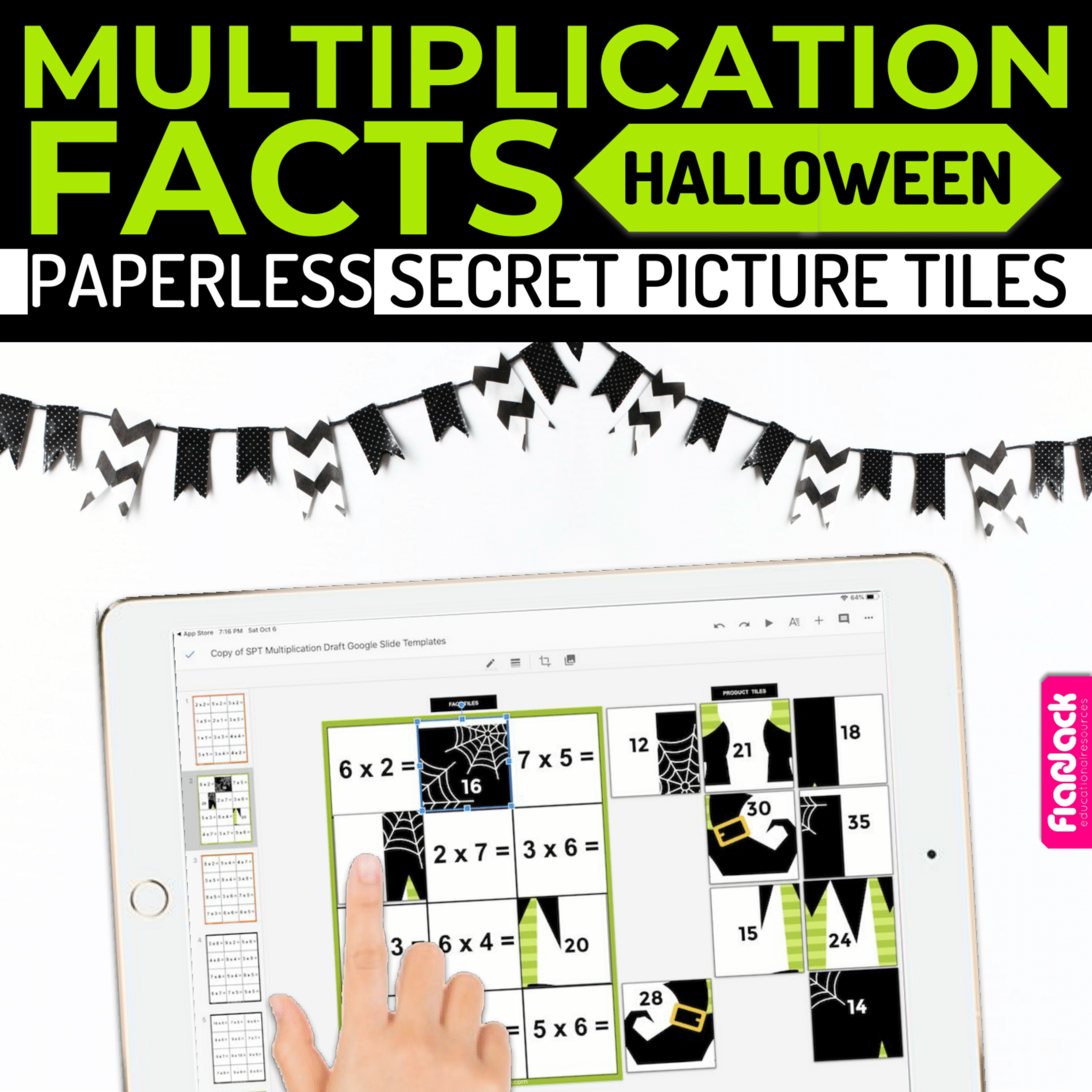 Halloween MULTIPLICATION FACTS Paperless + Printable Secret Picture SET