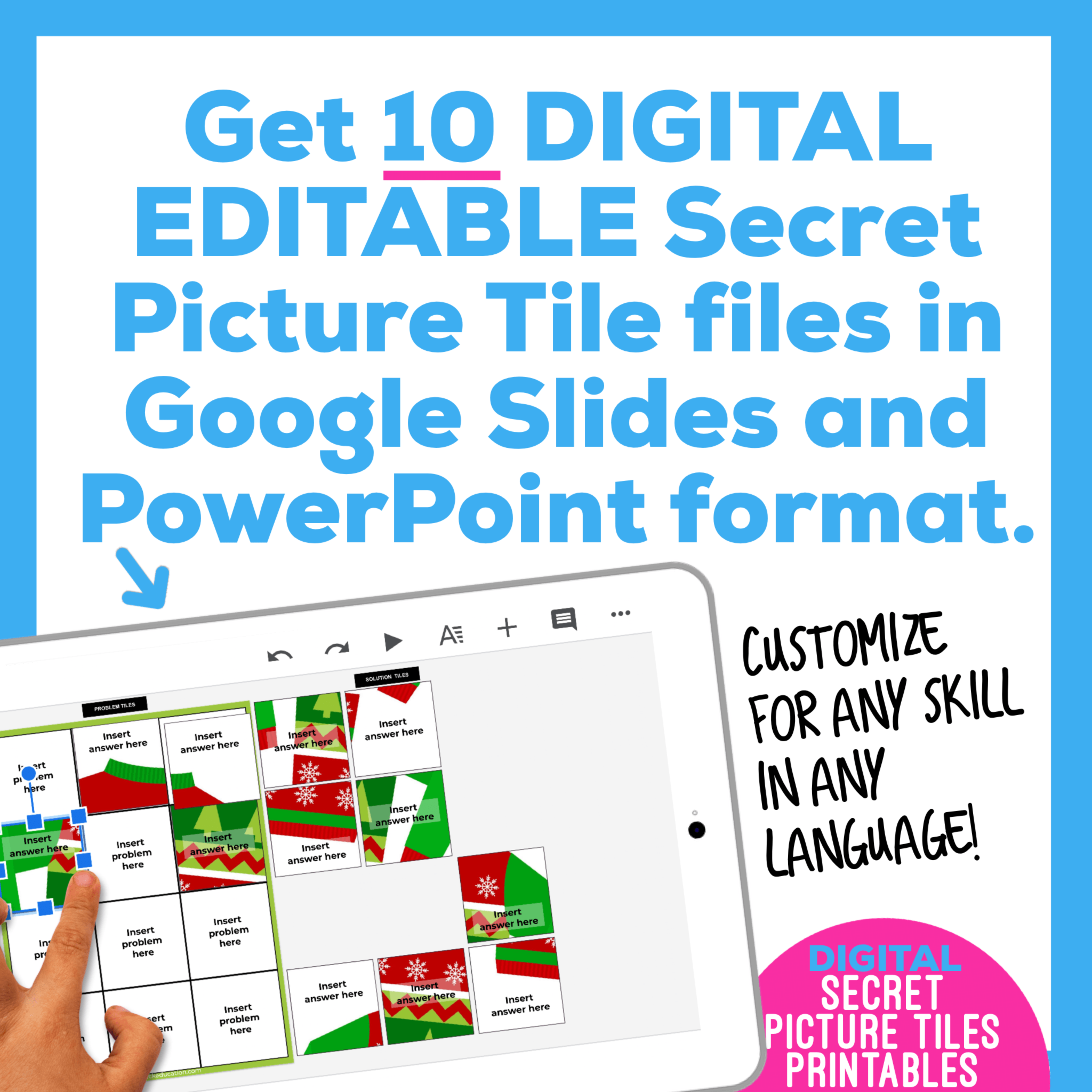 Digital Editable Google Slide Secret Picture Tiles | Christmas