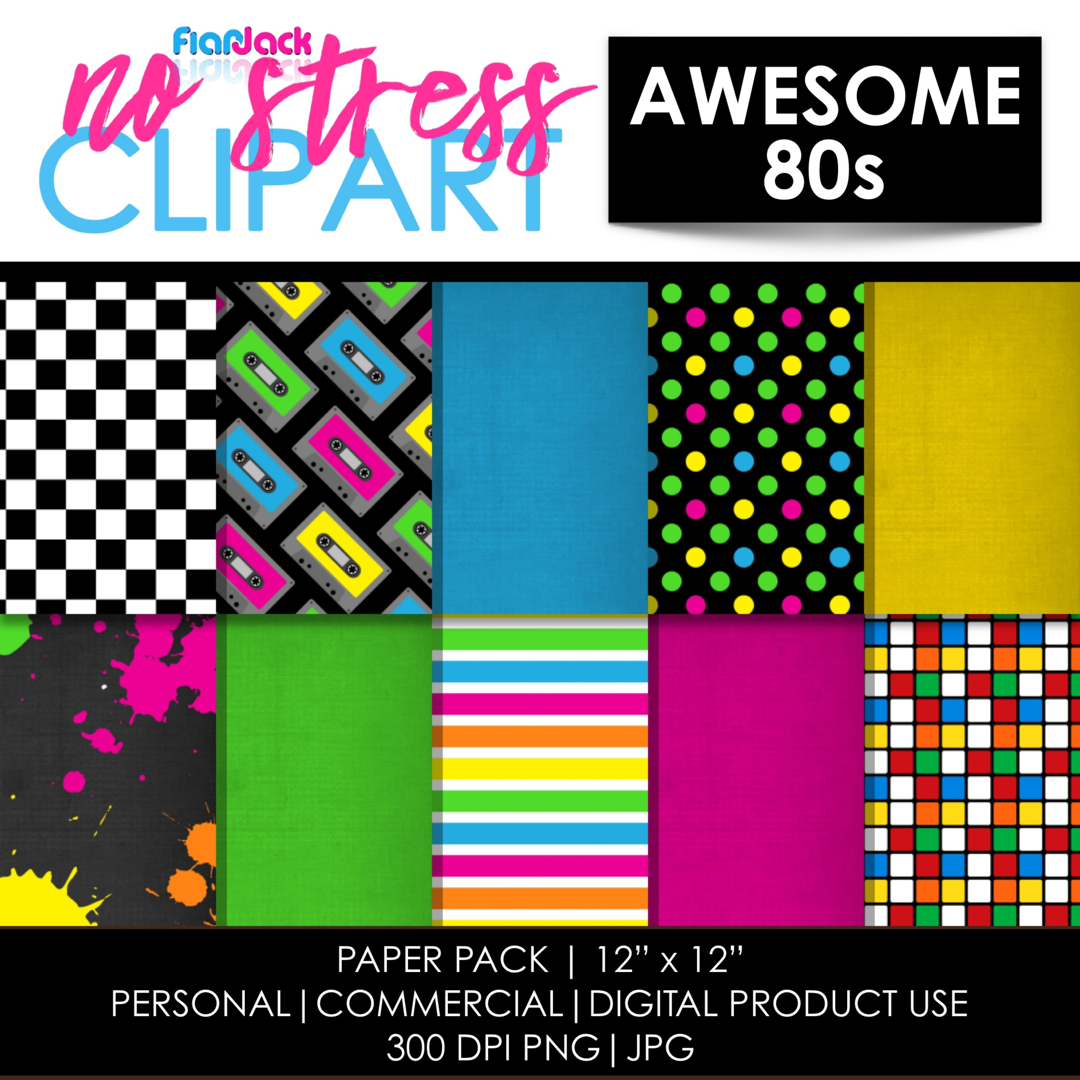 Awesome Eighties Digital Papers