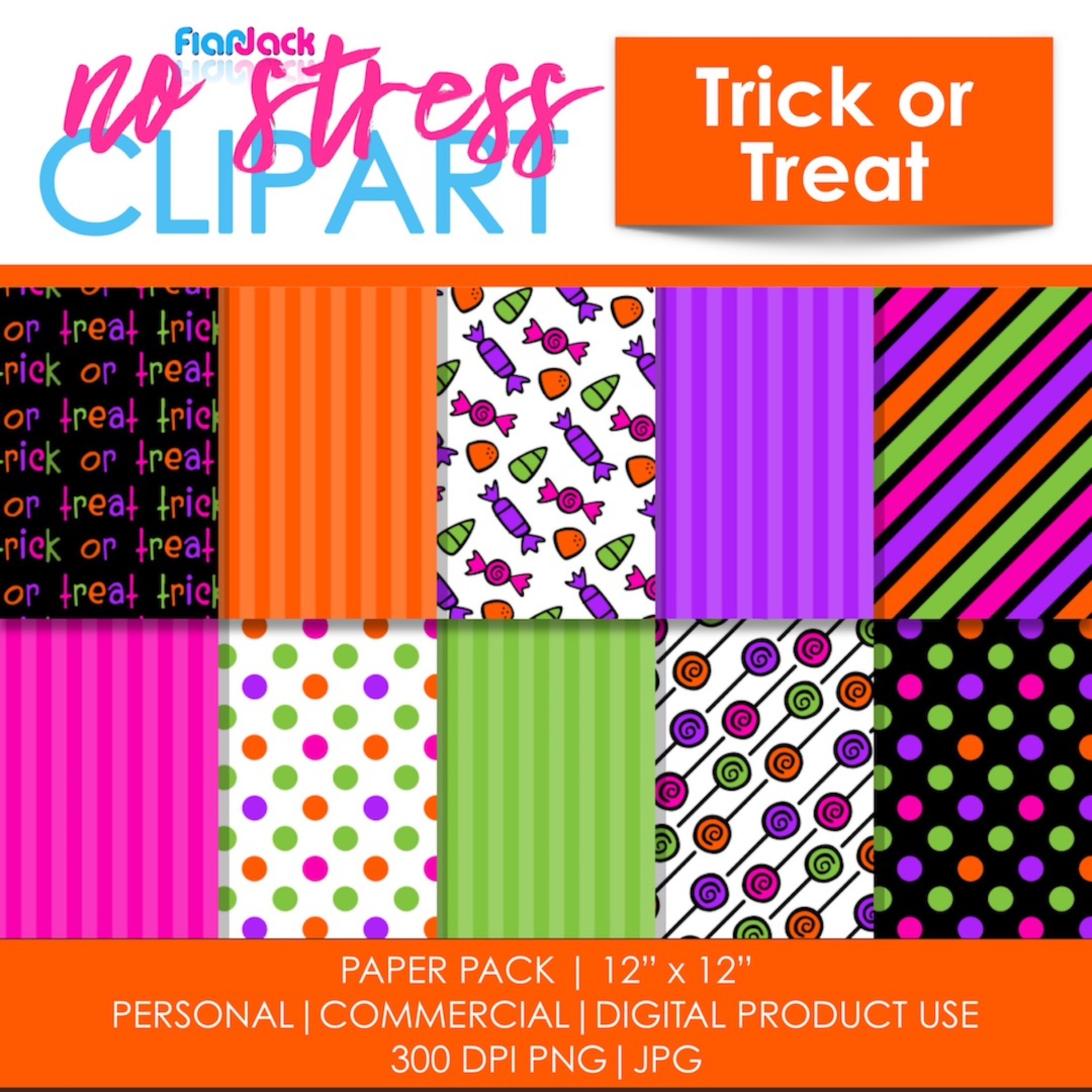 Trick Or Treat Halloween Digital Papers