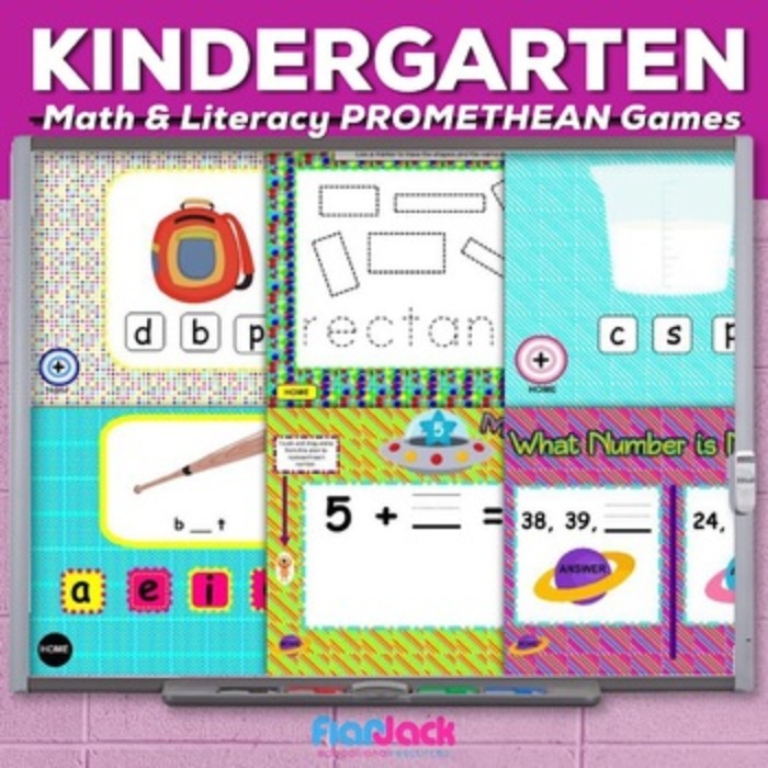 Kindergarten Math and Literacy PROMETHEAN FLIPCHARTS Game Pack