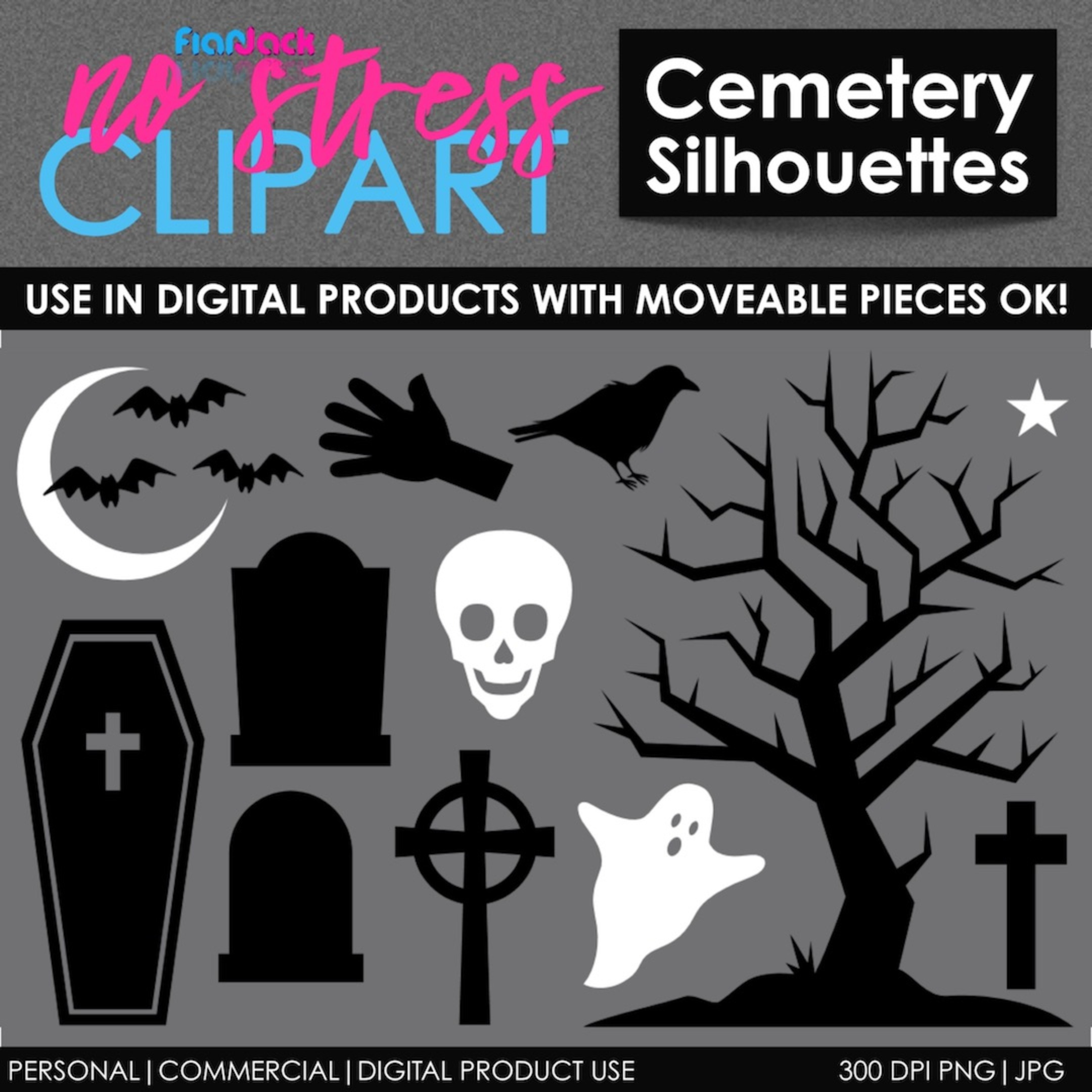 Halloween Cemetery Silhouettes
