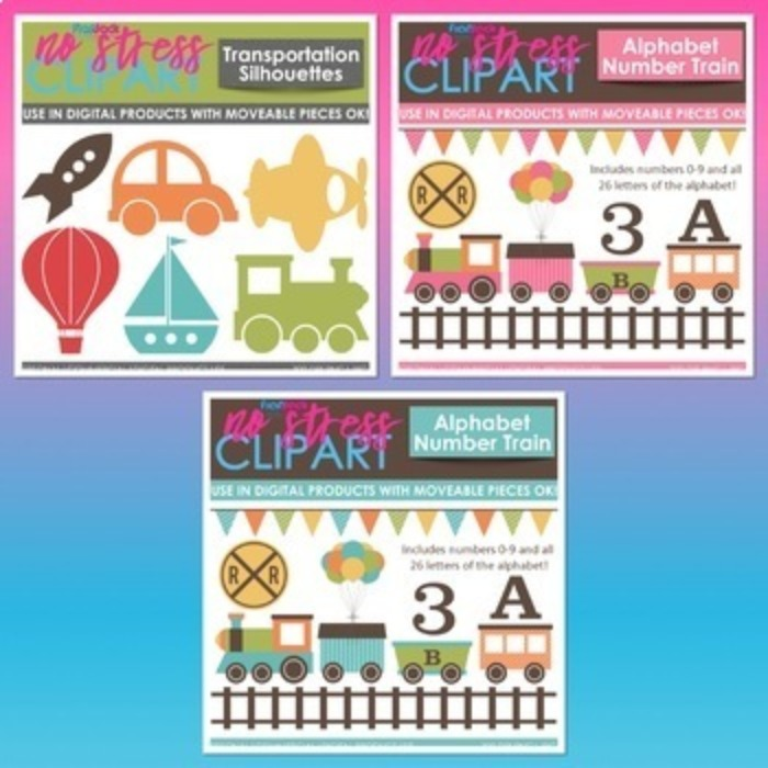 Transportation Clipart Plus Digital Papers BUNDLE