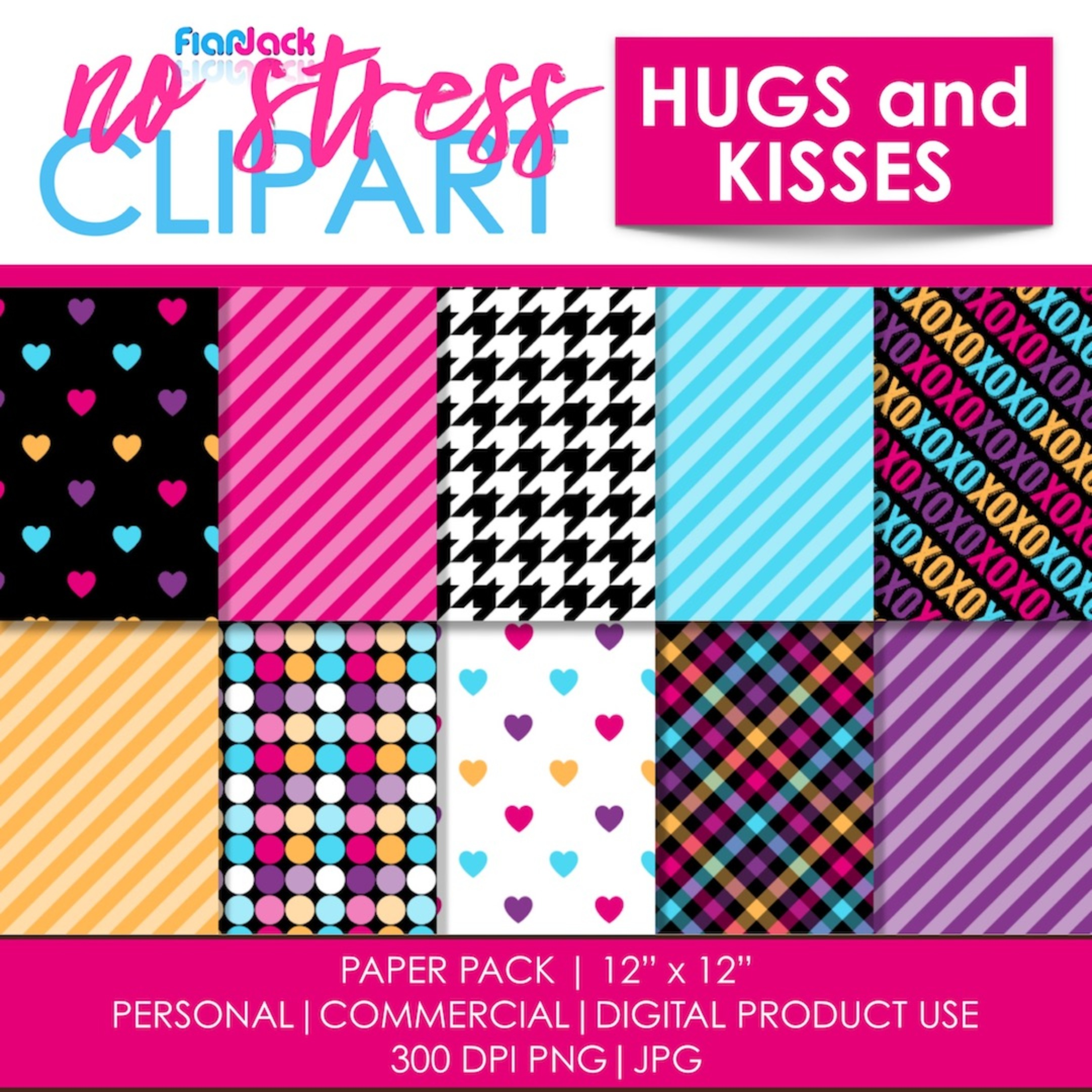 Hugs And Kisses Digital Papers