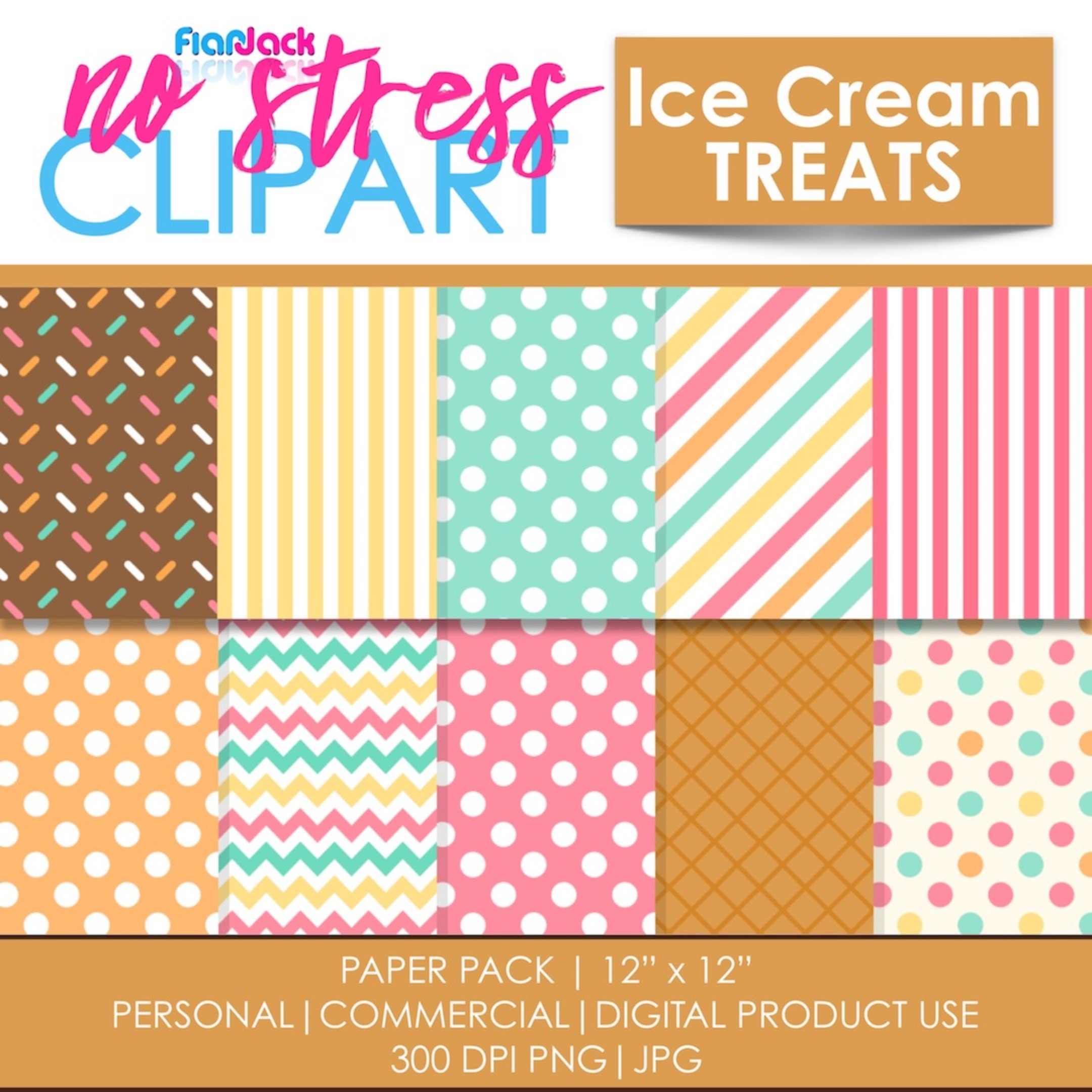 Ice Cream Treats Digital Papers