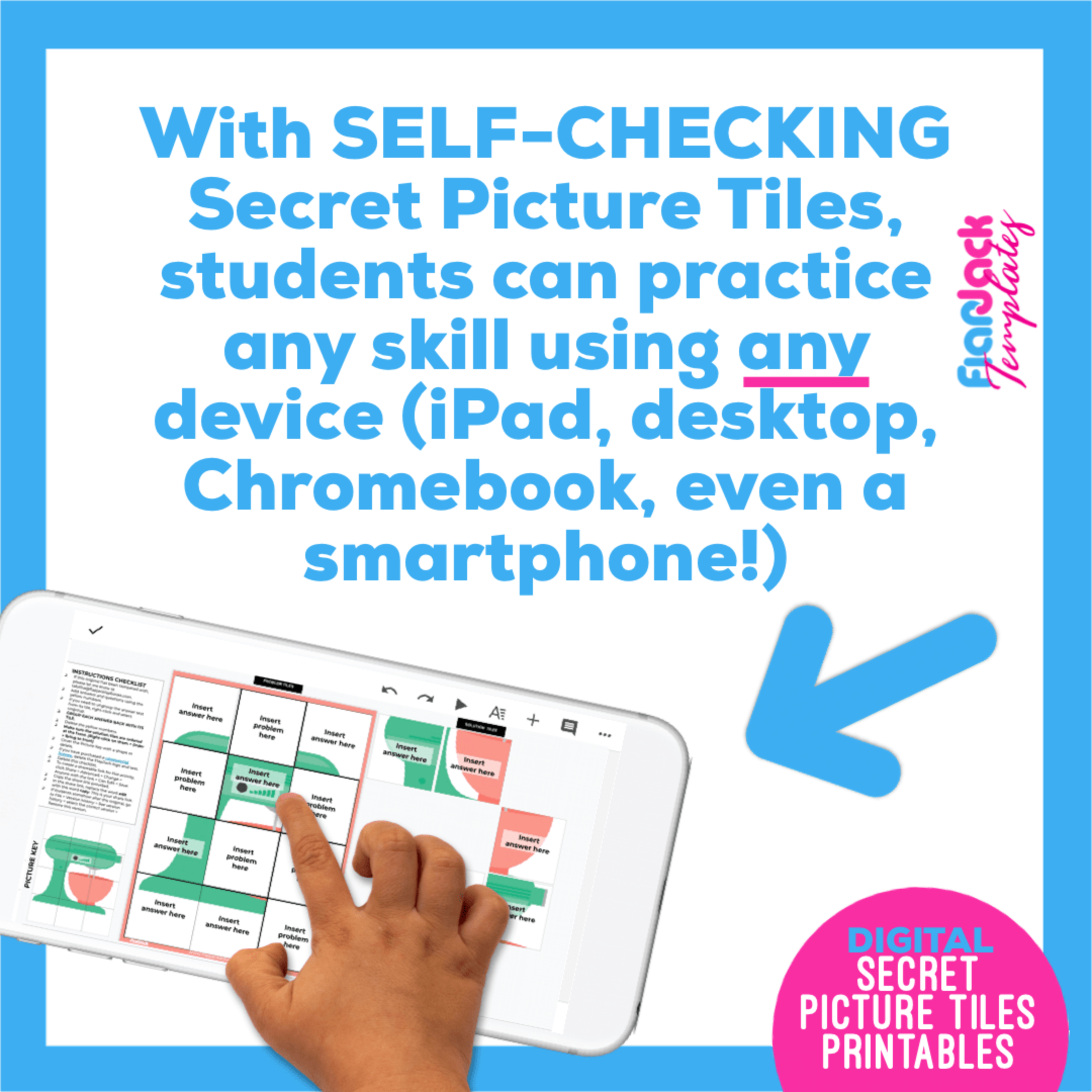 EDITABLE DIGITAL Secret Picture Tiles FUN BUNDLE 2