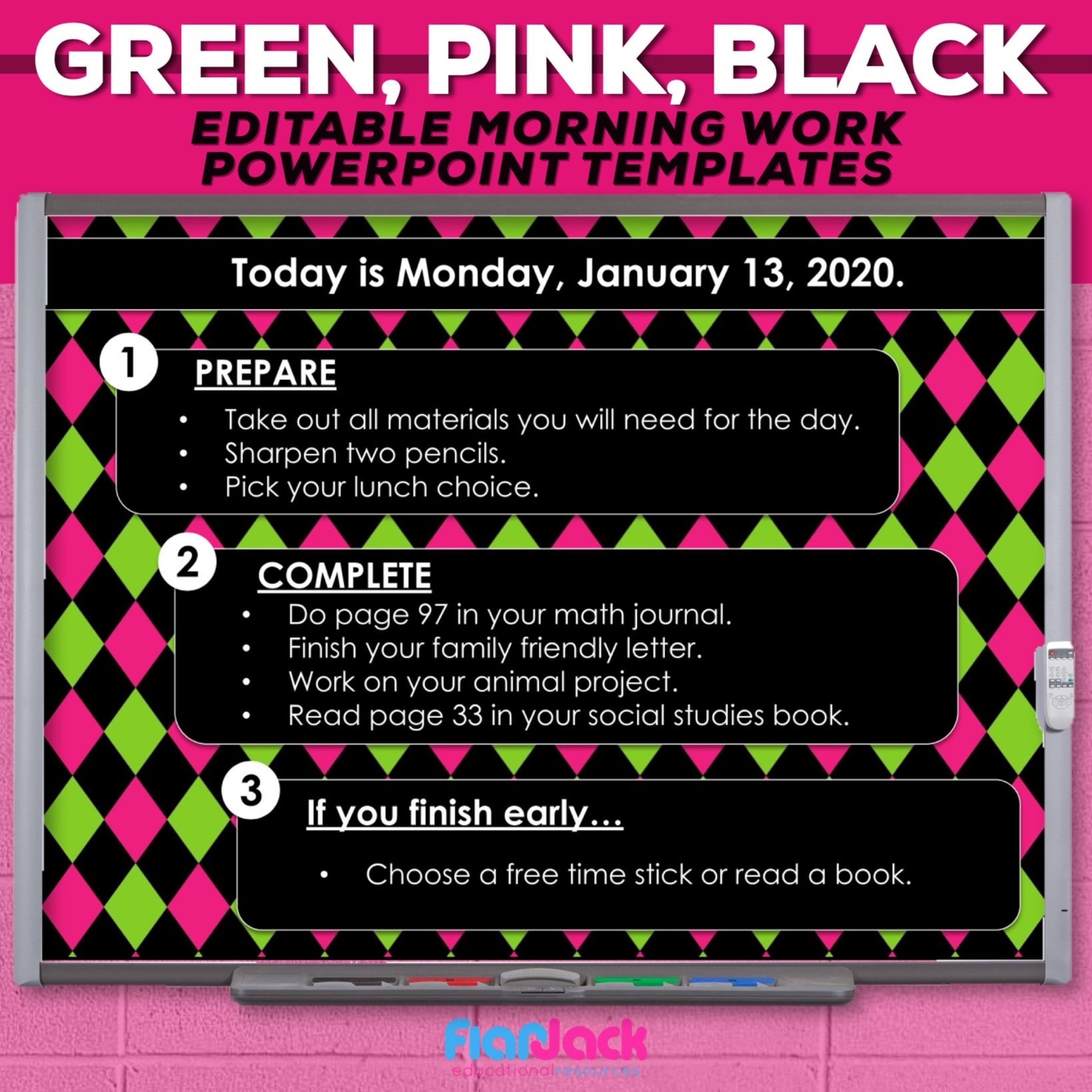 Editable PowerPoint Templates | Green Pink Black