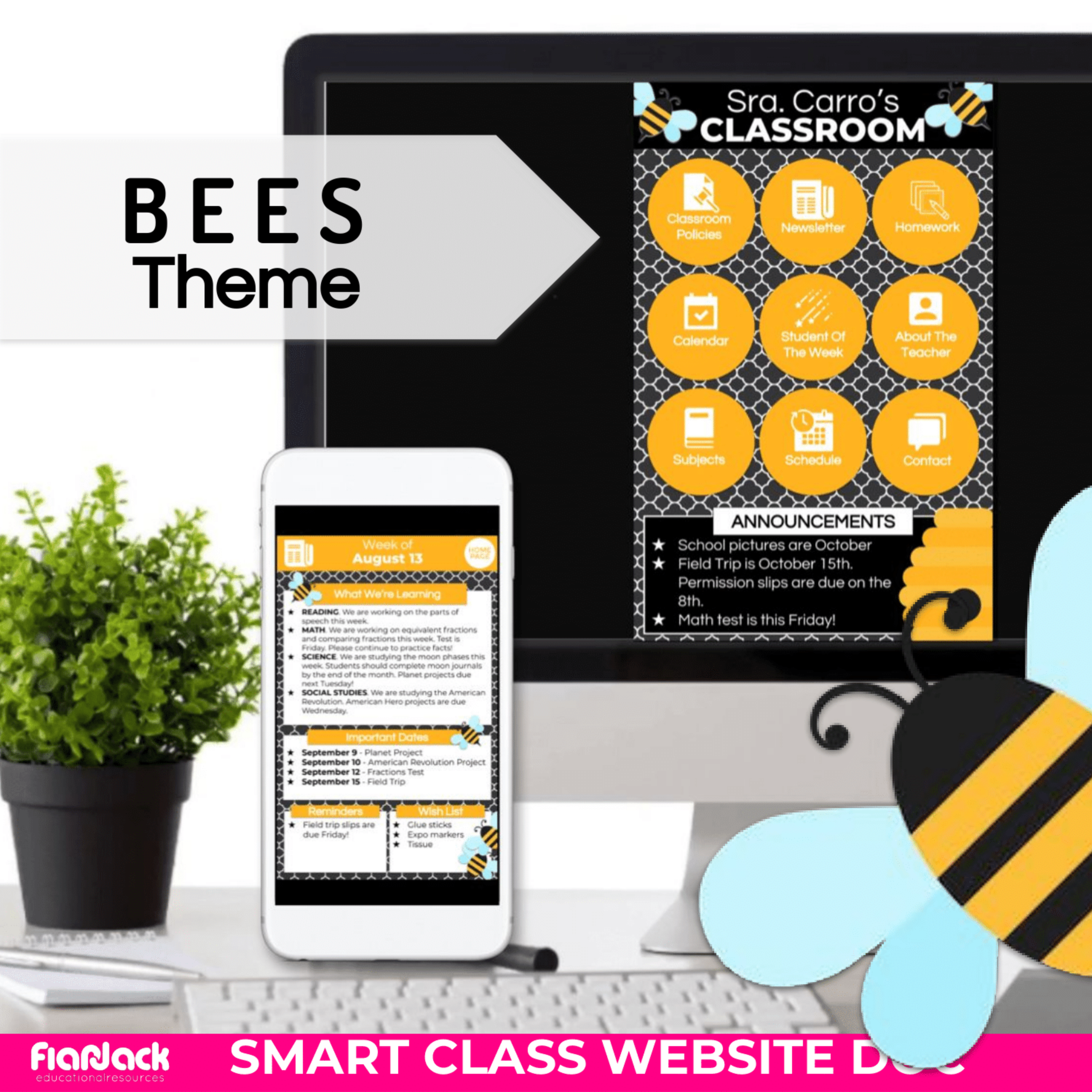 Bees Smart Class Website Doc (Google Slides Style!)