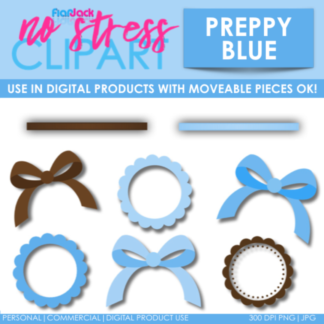 Preppy Blue Design Elements