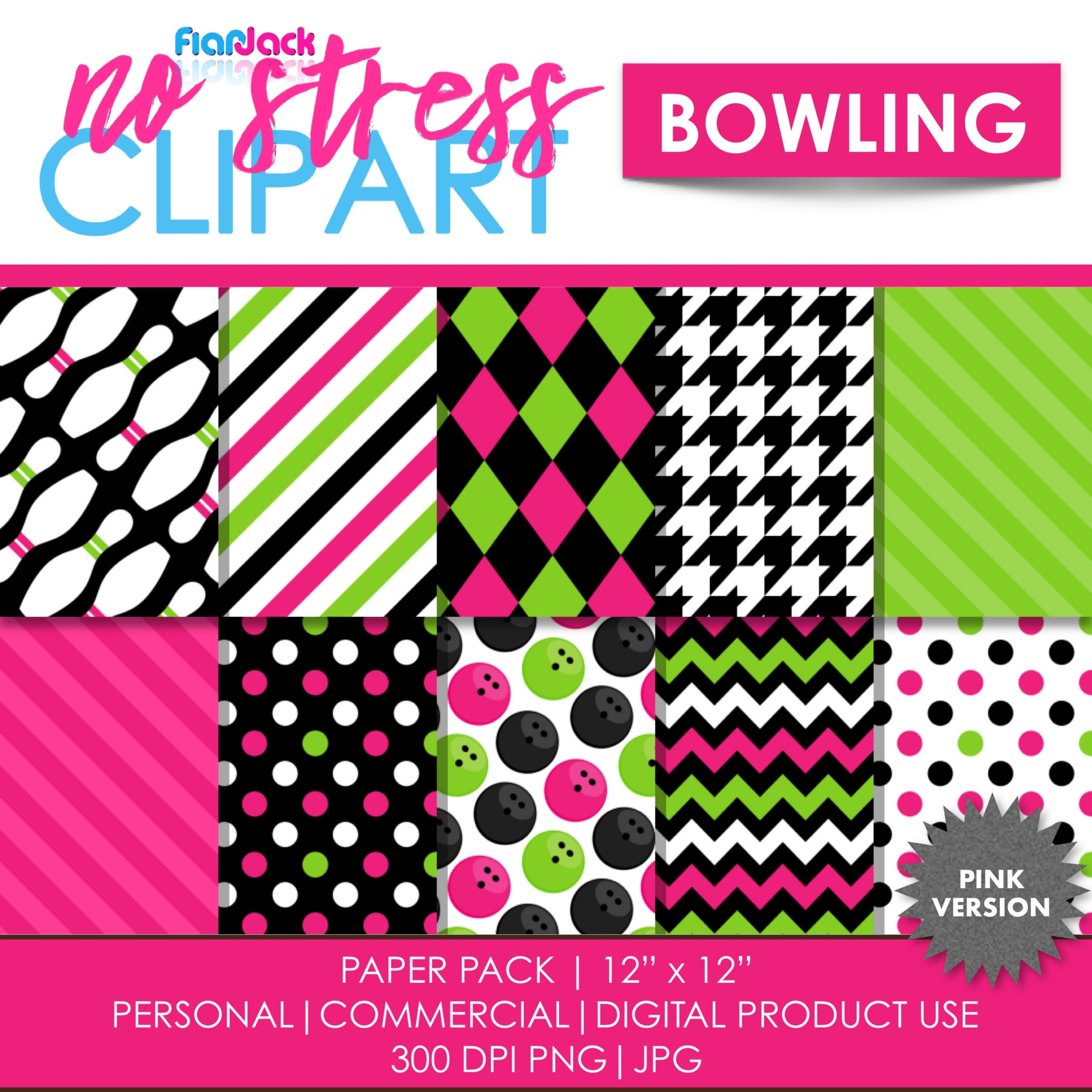 Pink Bowling Digital Papers