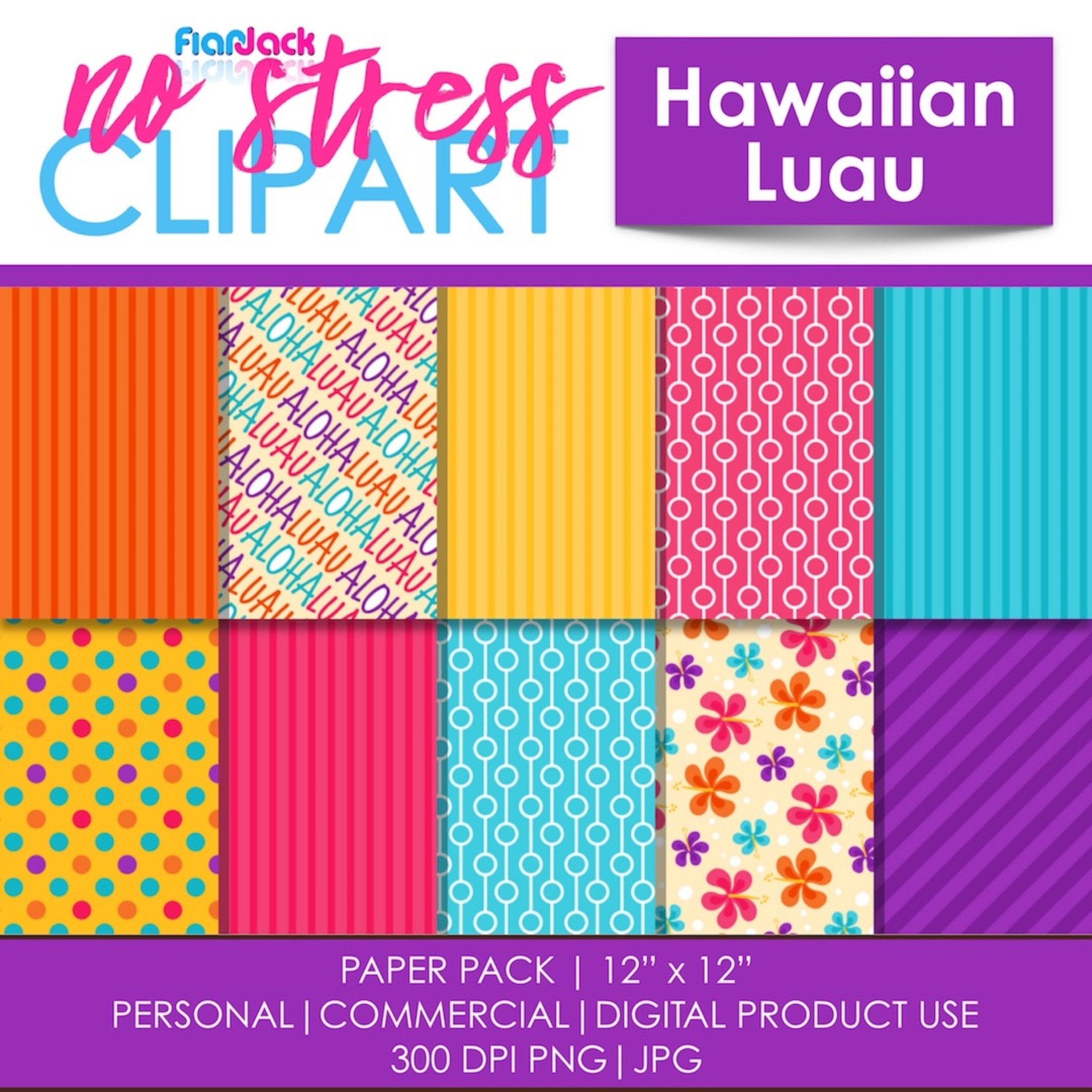 Hawaiian Luau Digital Papers