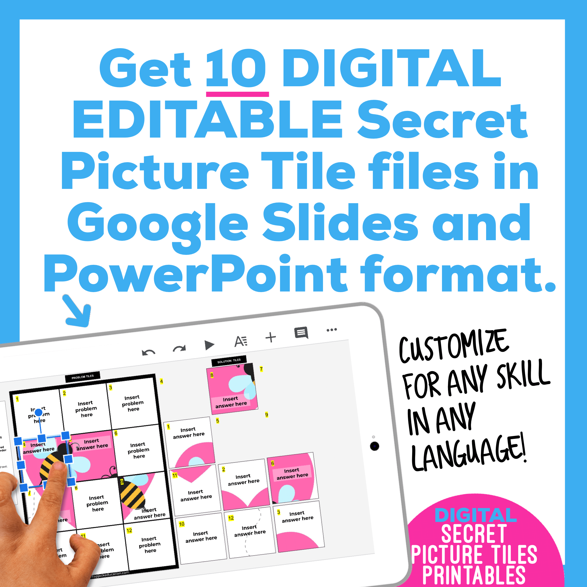 Digital Editable Google Slide Secret Picture Tiles |  Valentine's