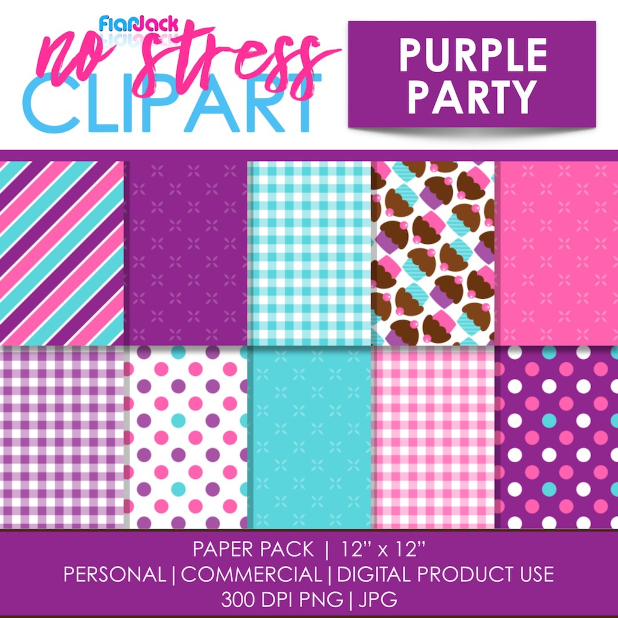 Purple Party Digital Papers