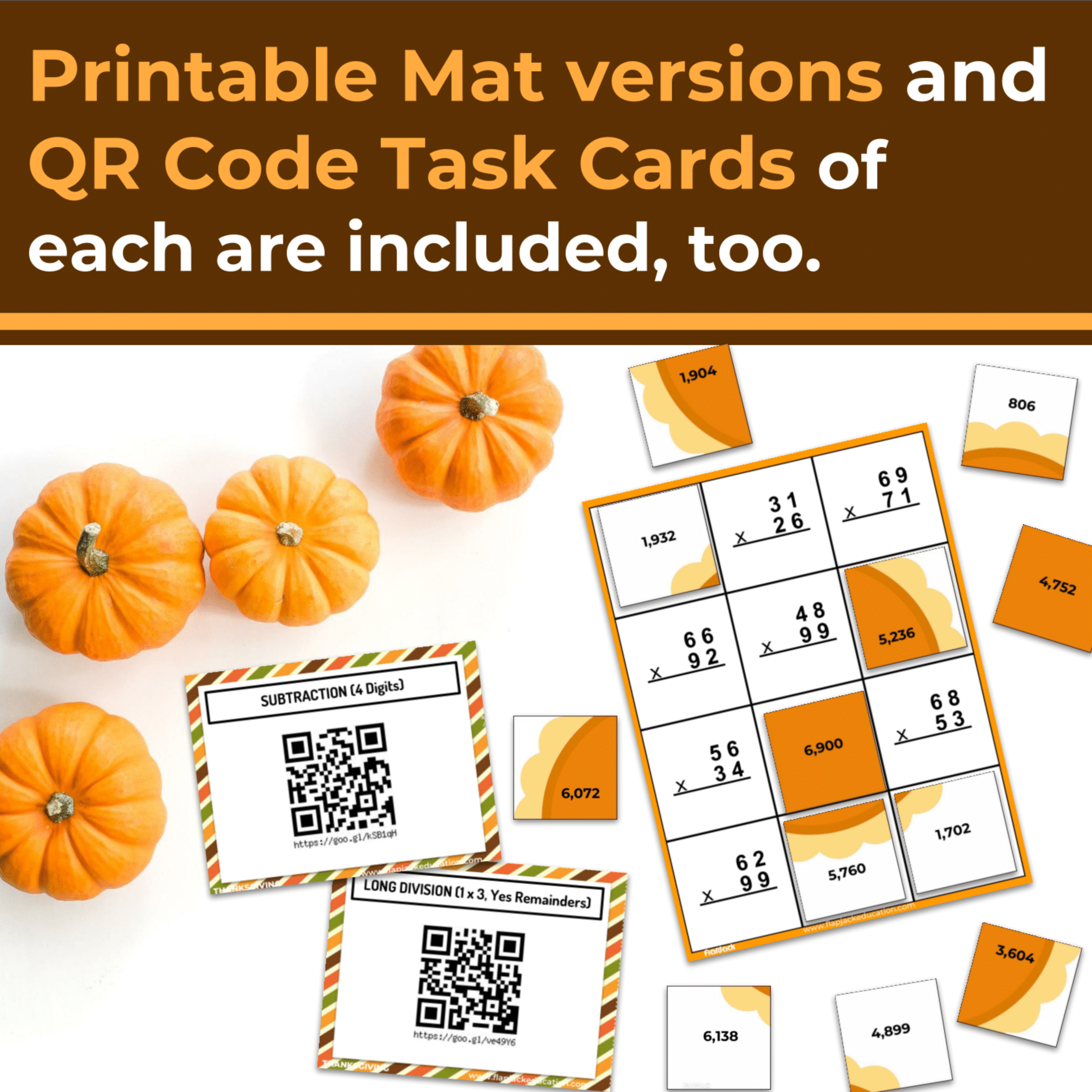 Thanksgiving Math | 4th-5th | Paperless + Printable Secret Picture Tiles SET