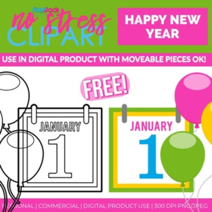 Free Happy New Year Clip Art (Digital Use Ok!)