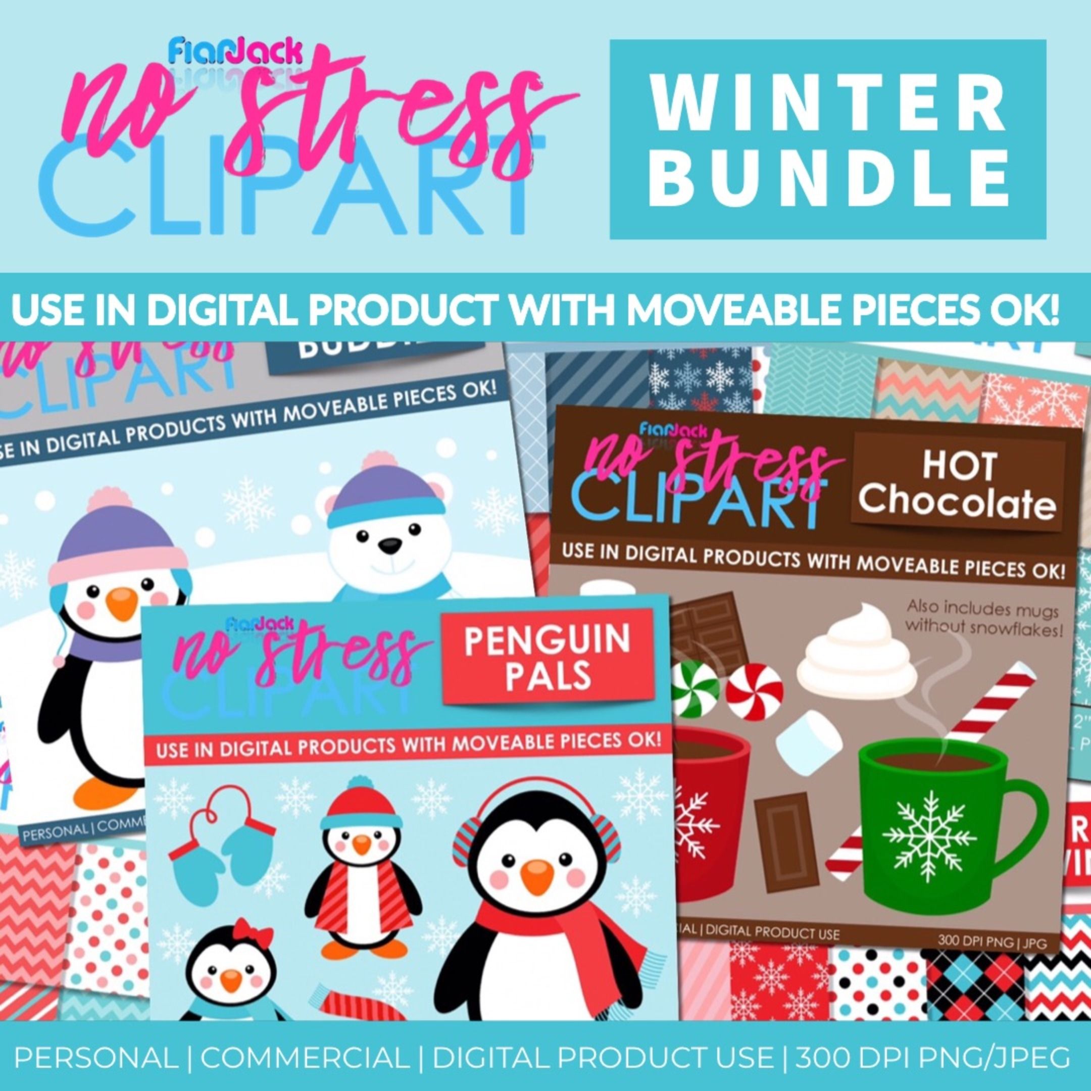 Winter Clipart And Digital Papers BUNDLE