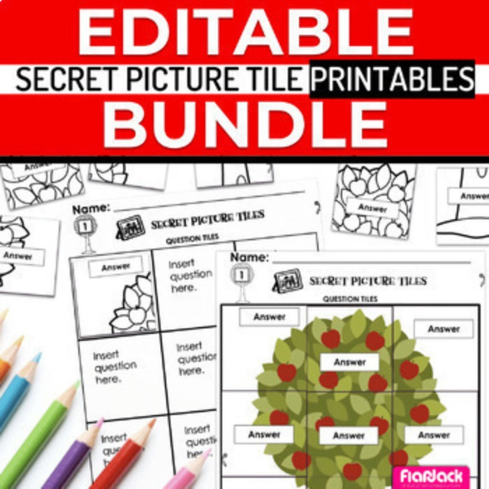 EDITABLE Secret Picture Tile Printables SEASONAL BUNDLE