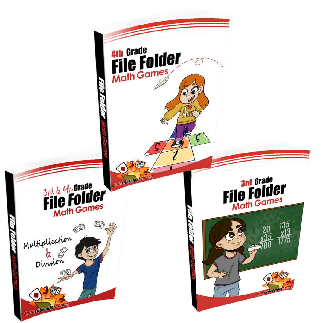 3rd & 4th Grade (File Folder Math Games) - BUNDLE