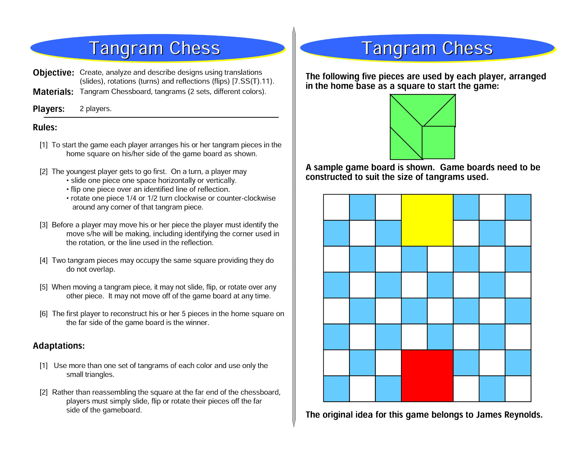 Tangram Chess: Transformation Math Games