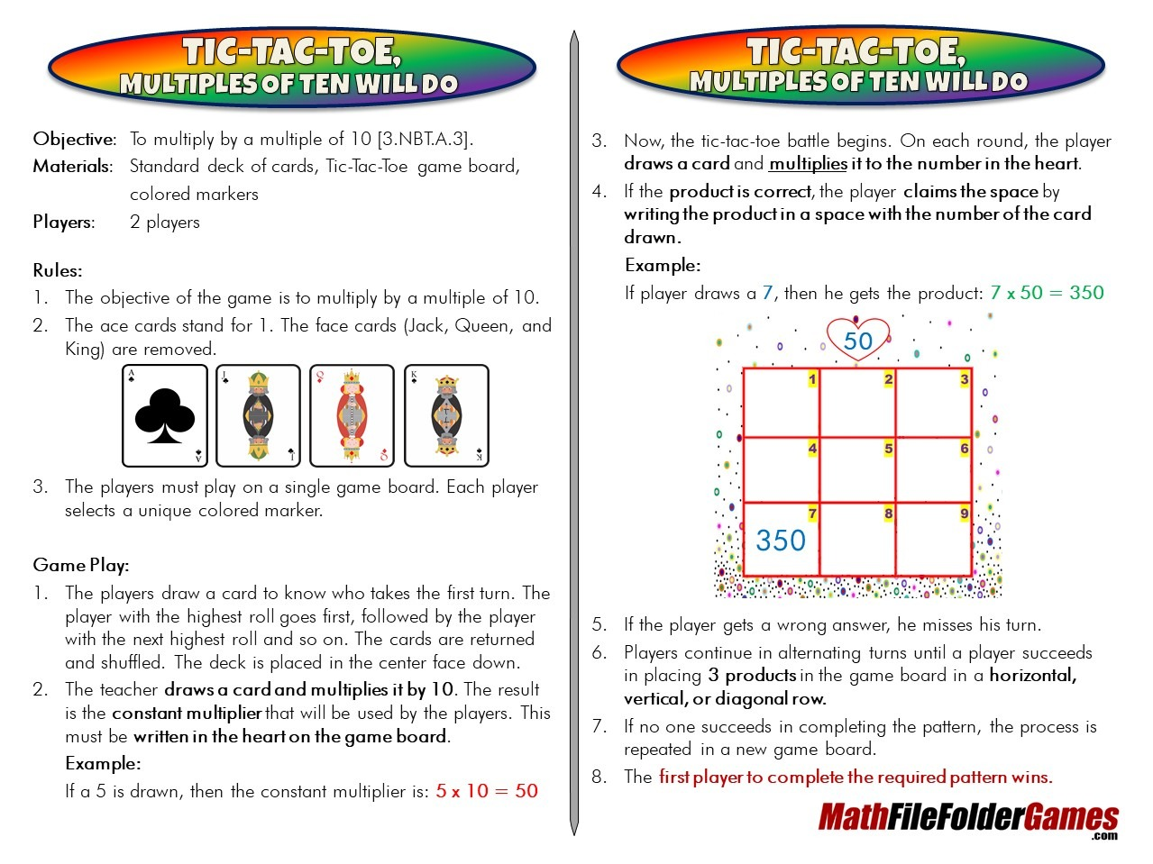 4th Grade Book & 3rd & 4th Grade Book (File Folder Math Games) - Bundle