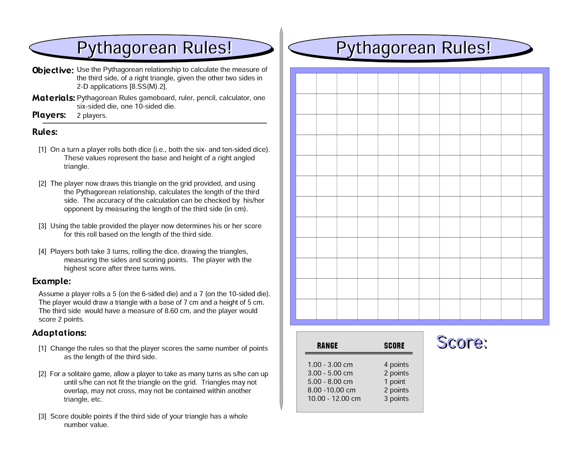 Pythagorean Rules: Pythagorean Theorem Math Game
