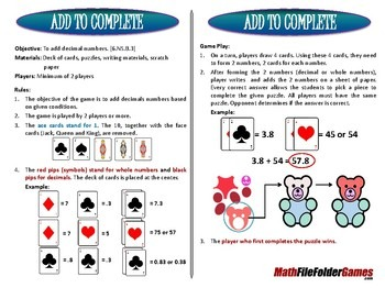 [6.NS.B.3] Add to Complete - Adding Decimals Numbers