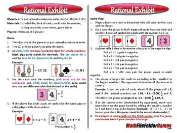 [6.NS.C.7b] [6.EE.B.5] Rational Exhibit Game