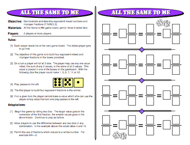 All The Same To Me: Fraction Games
